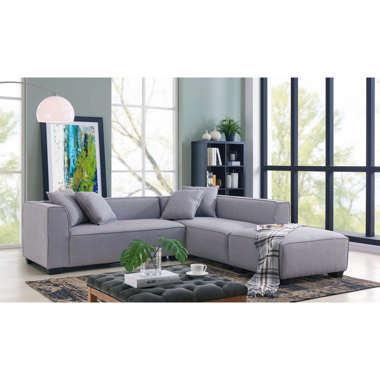 Shop Handy Living Phoenix Grey Sectional Sofa With Ottoman On Sale