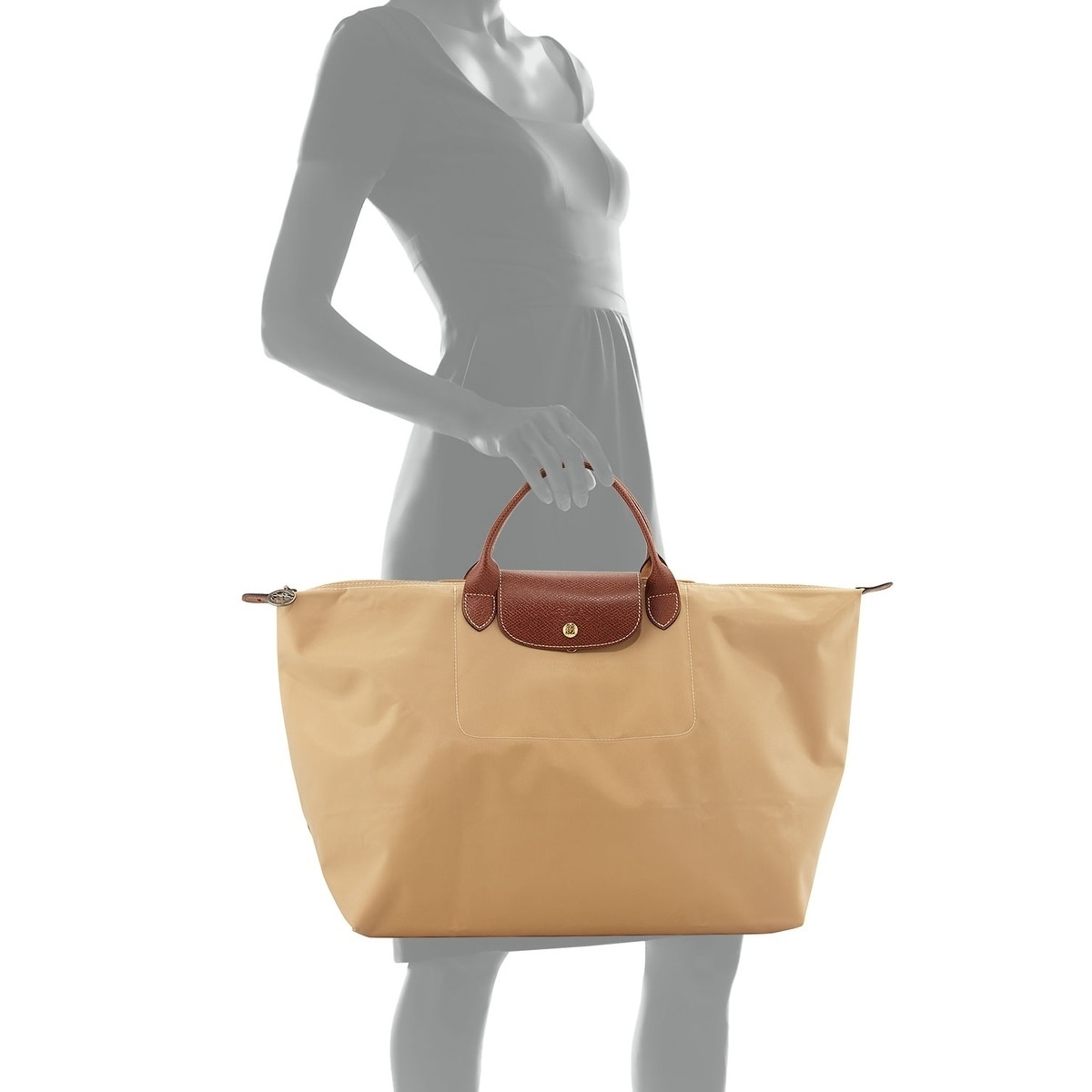 aef9a64cff5f Shop Longchamp Le Pliage Large Travel Bag-Beige - Free Shipping Today -  Overstock - 18058419