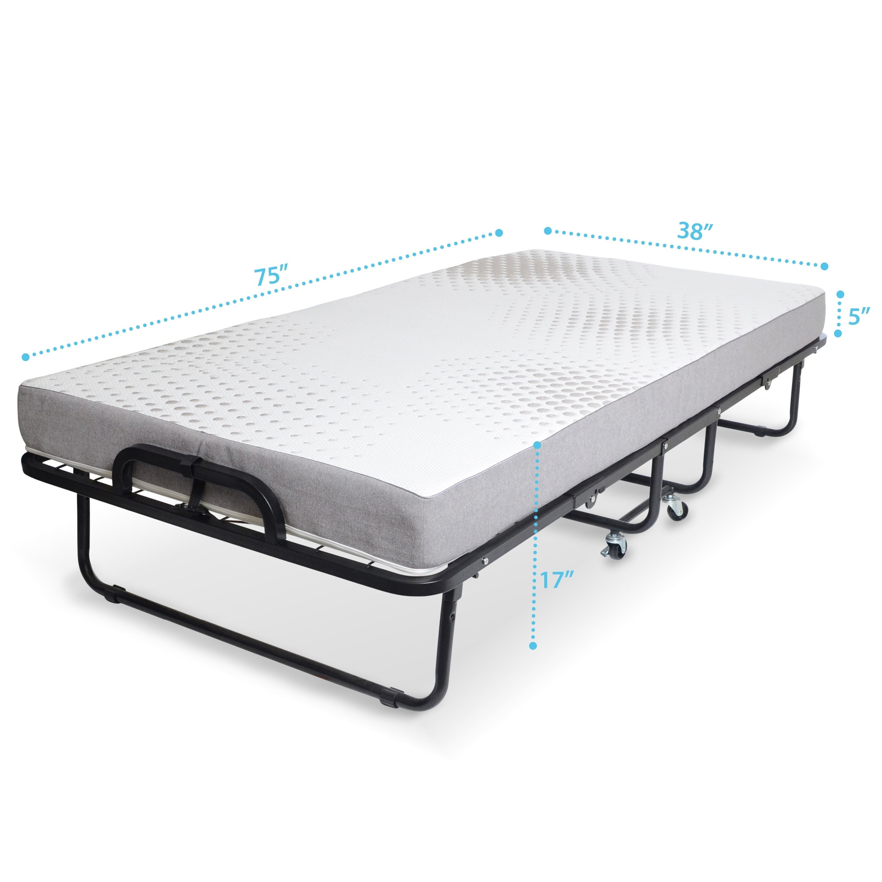 Milliard Diplomat Rollaway Folding Twin Size Guest Bed With Luxurious Memory Foam Mattress And Super Strong 75 X 38 Sy Frame Free Shipping Today