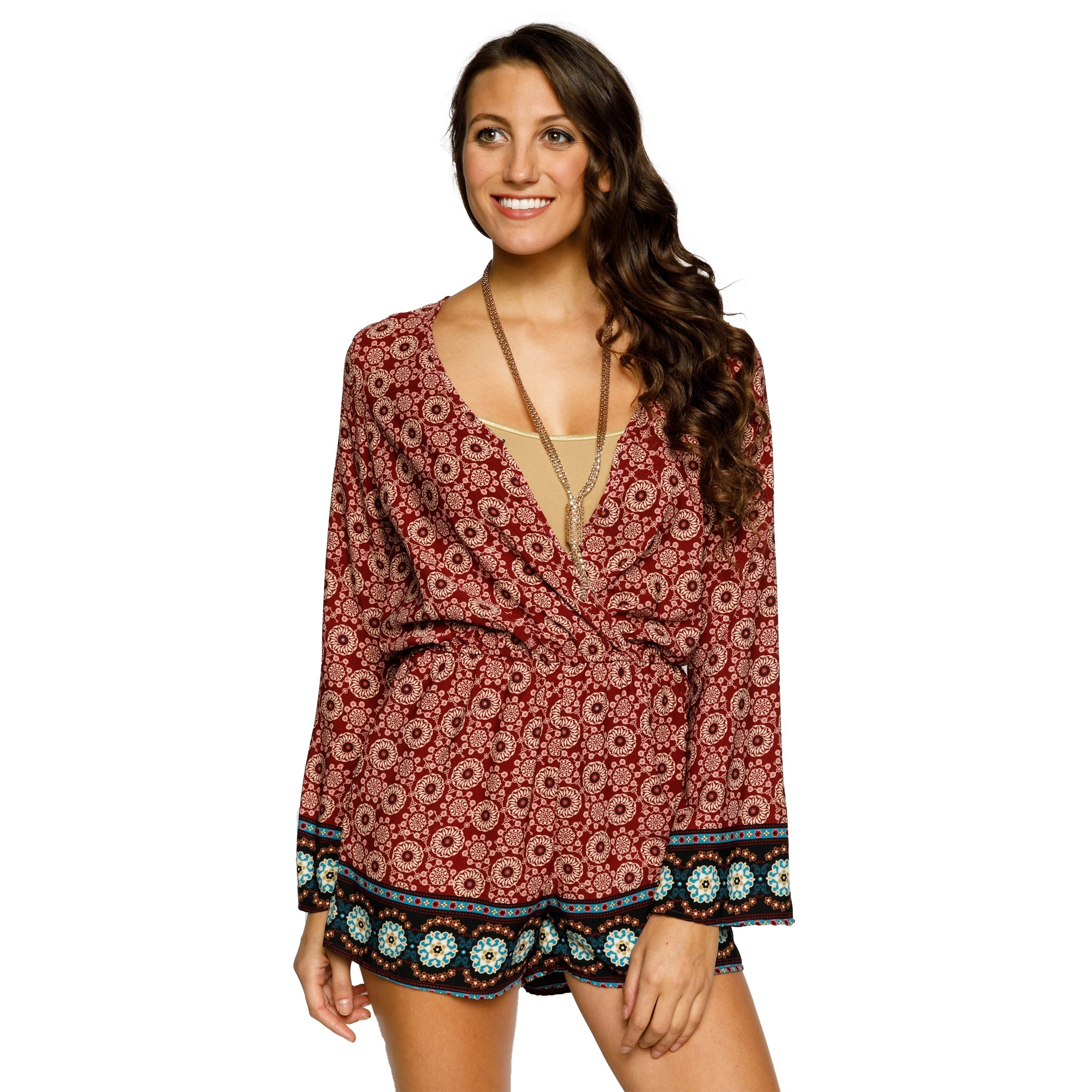 3ebe821a1f9a Shop Xehar Womens Casual Sexy V-Neck Circle Print Short Romper - Free  Shipping On Orders Over  45 - Overstock.com - 18060109