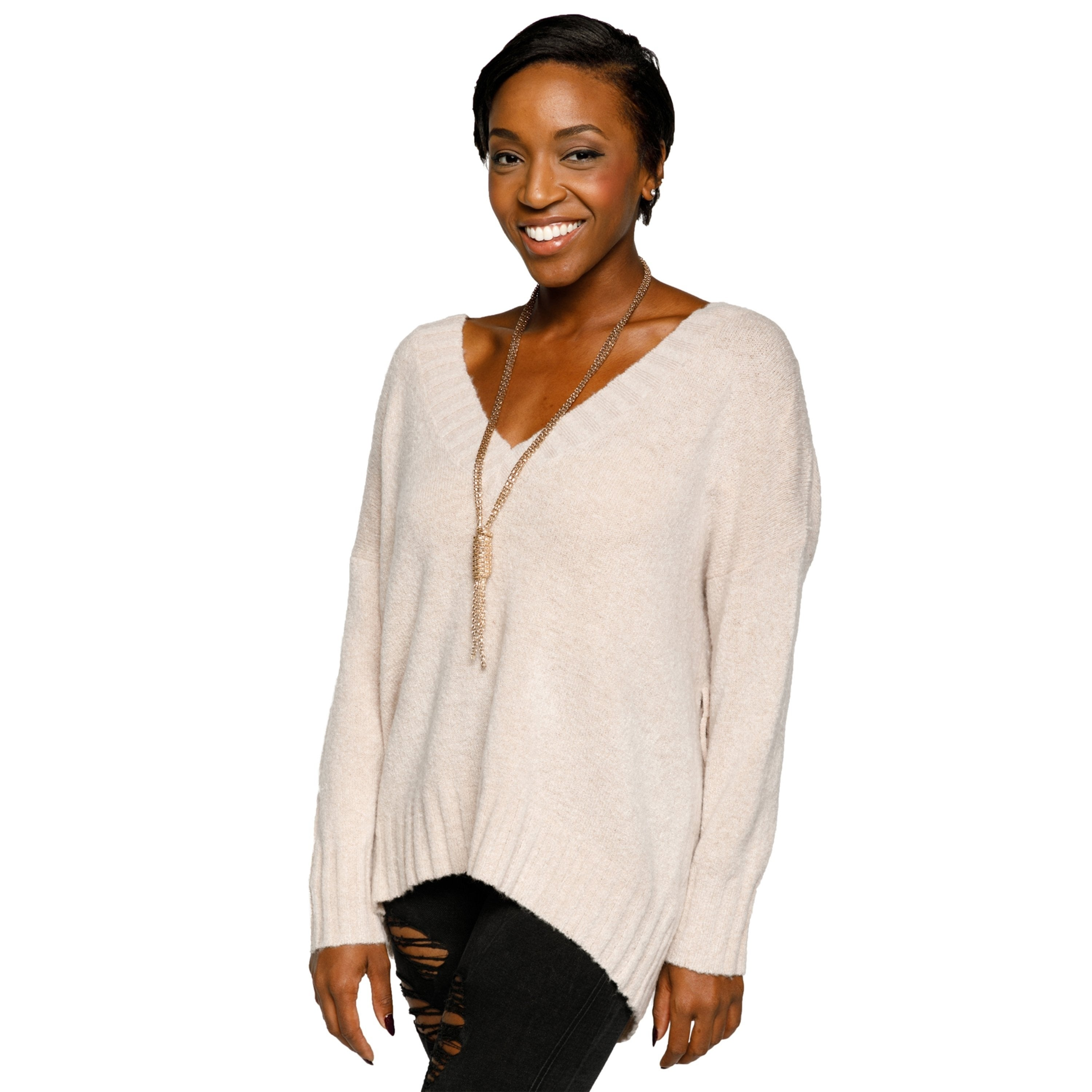 f924e0f052 Shop Xehar Womens Stylish V-Neck Pullover Lace Up Back Knit Sweater - Free  Shipping On Orders Over  45 - Overstock.com - 18060152