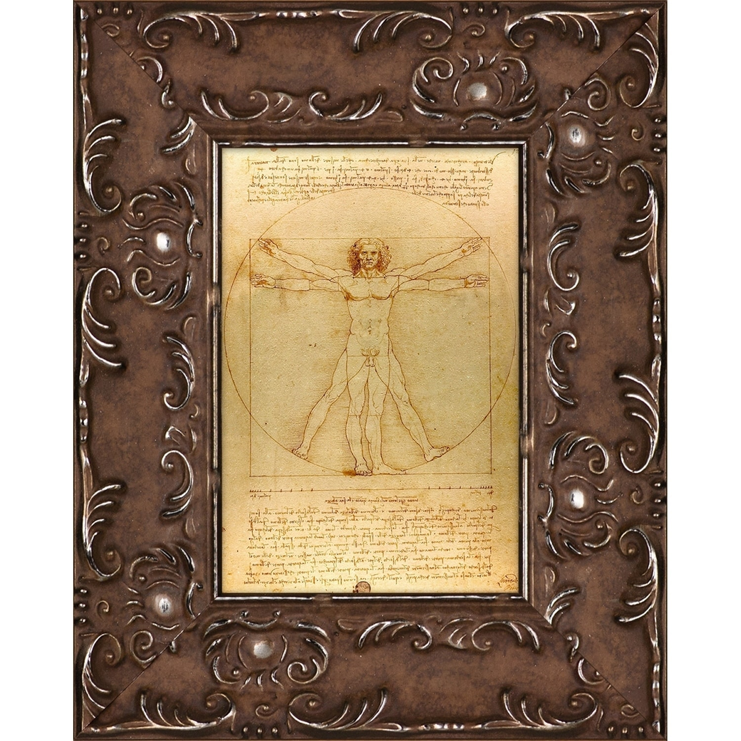 Leonardo da Vinci \'Vitruvian Man\' Pre-Framed Miniature Print on ...