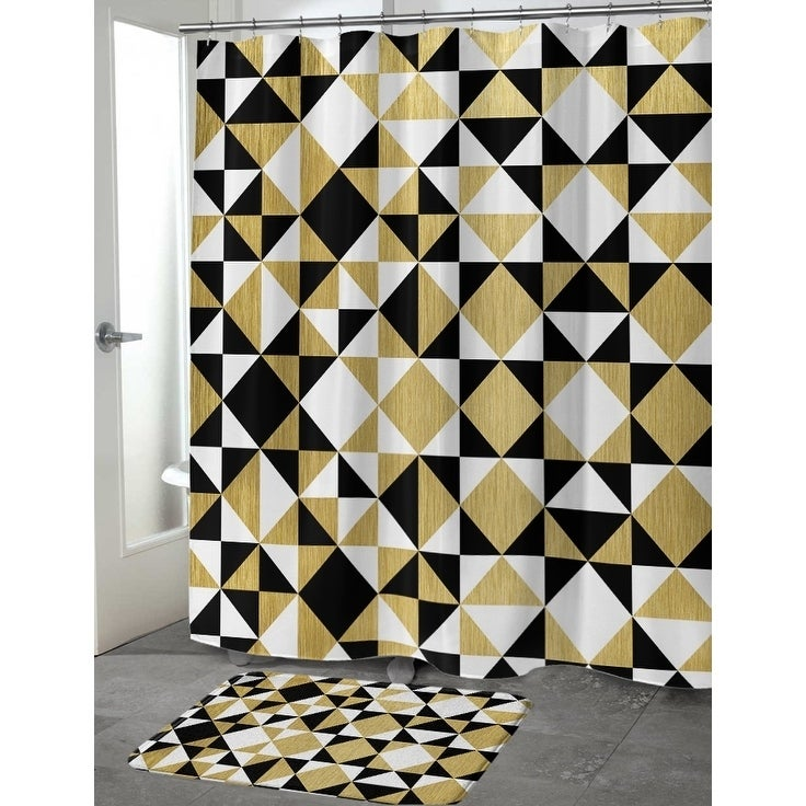 Shop GOLD, BLACK AND WHITE Shower Curtain By Terri Ellis - On Sale ...