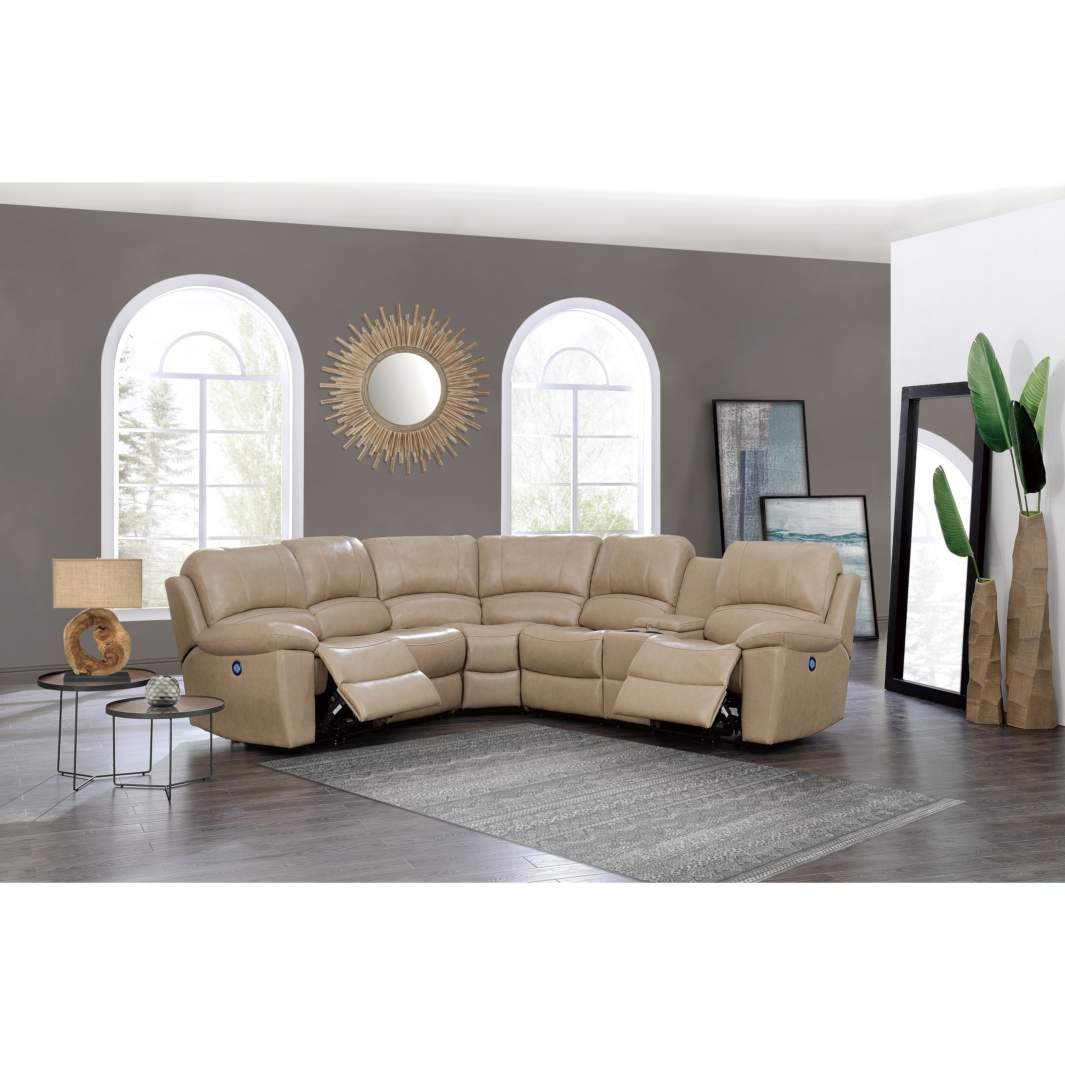 Global Furniture Glove Tan Reclining Sectional