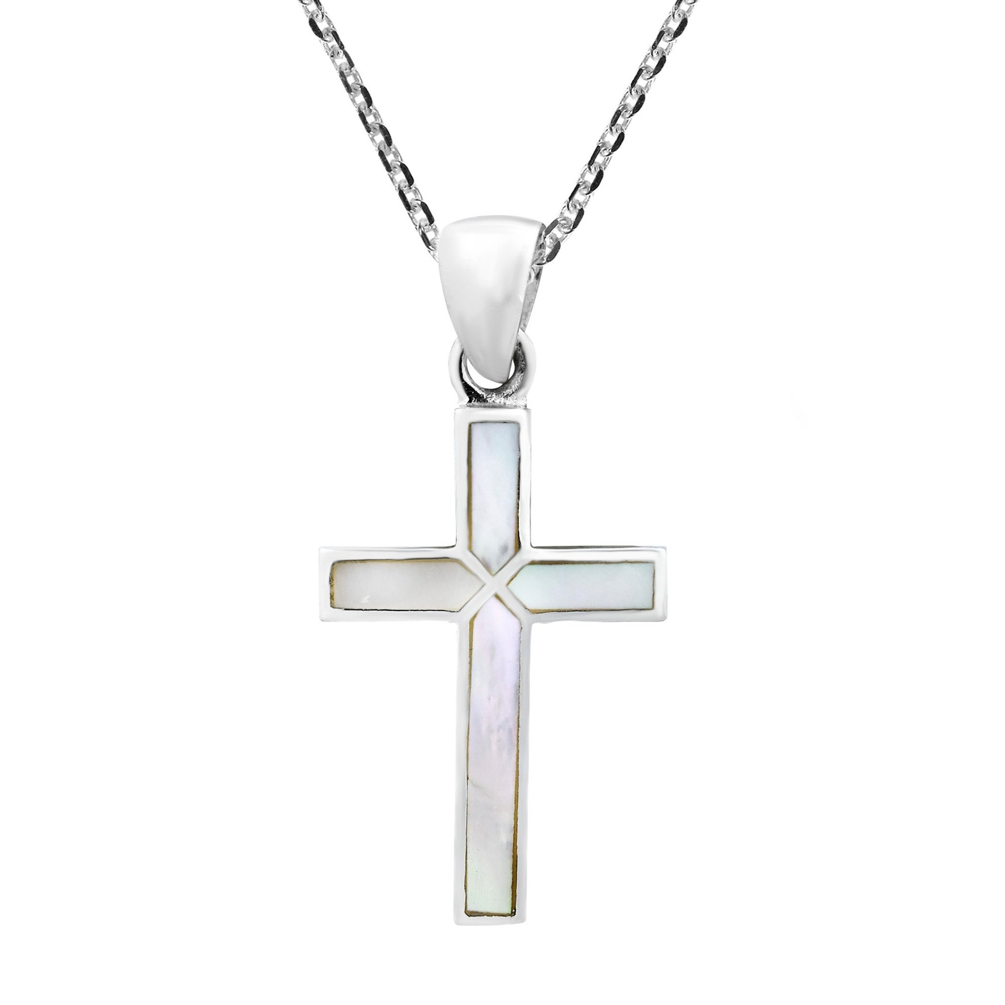 Cross of faith inlaid mother of pearl 925 sterling silver cross of faith inlaid mother of pearl 925 sterling silver necklace white free shipping on orders over 45 overstock 24229690 biocorpaavc Images