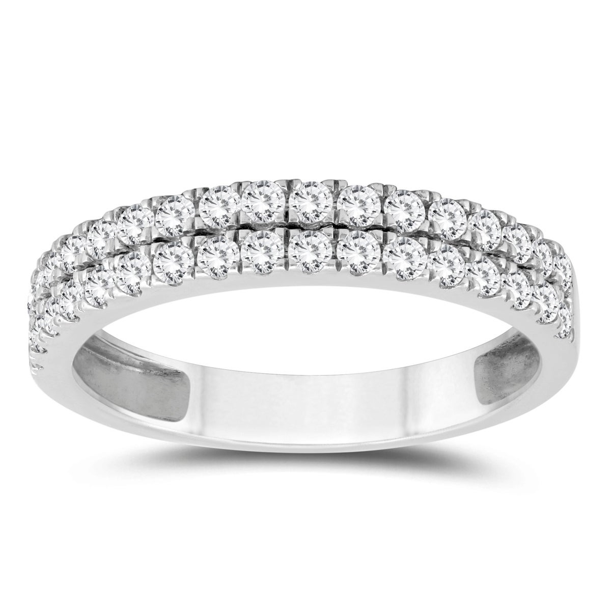 3 4 Carat Tw Double Row Diamond Wedding Band In 10k White Gold On Free Shipping Today 18068215