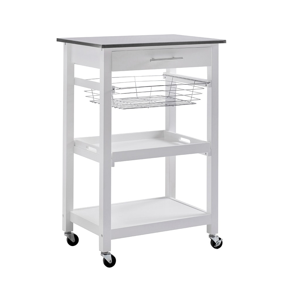 SJ Collection Linden White Wood Rolling Kitchen Cart - Free Shipping ...