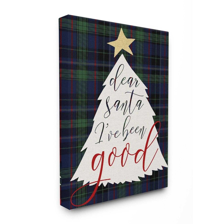 Dear Santa Christmas Tree Stretched Canvas Wall Art Free Shipping