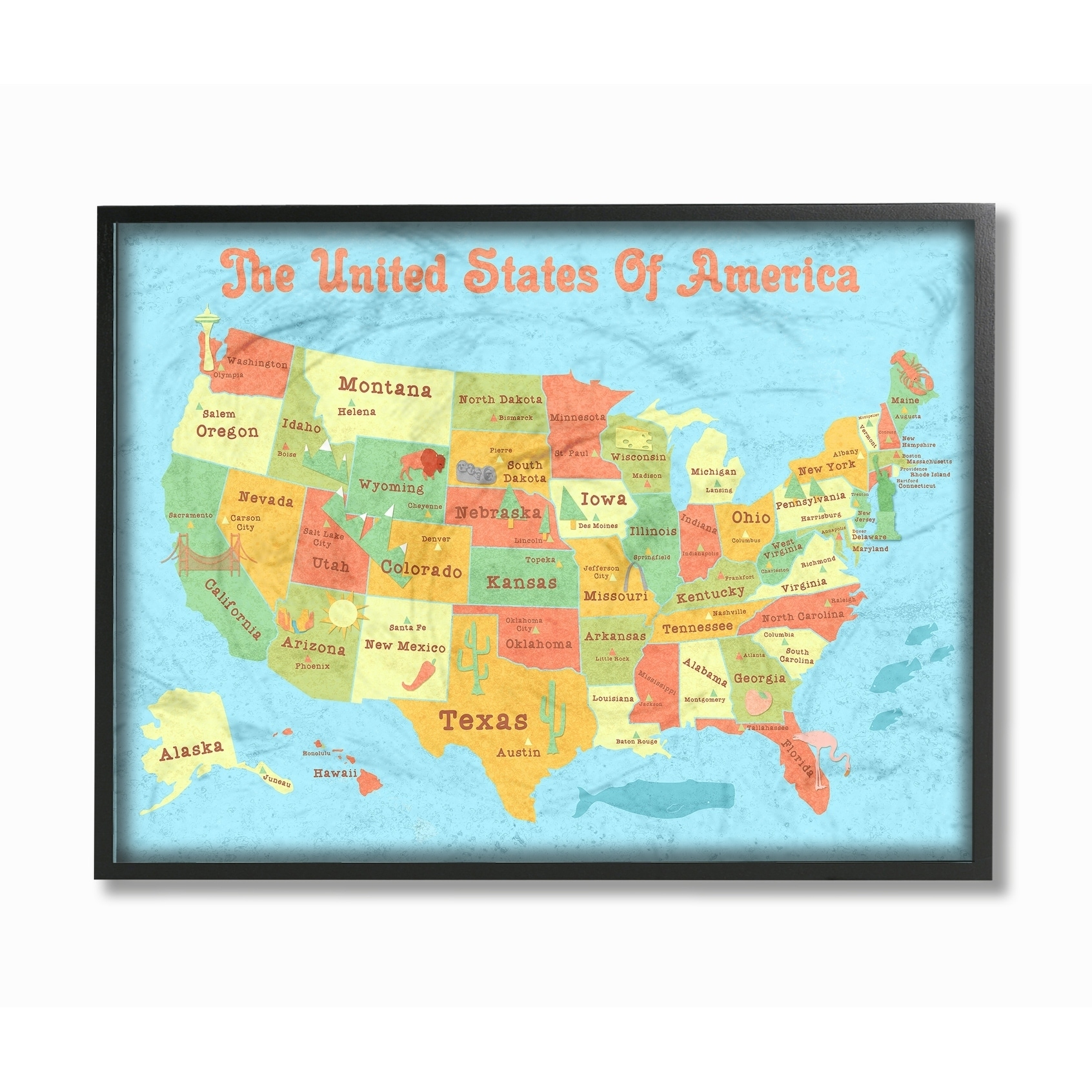 Shop United States of America Kids Map Framed Giclee Texture Art ...