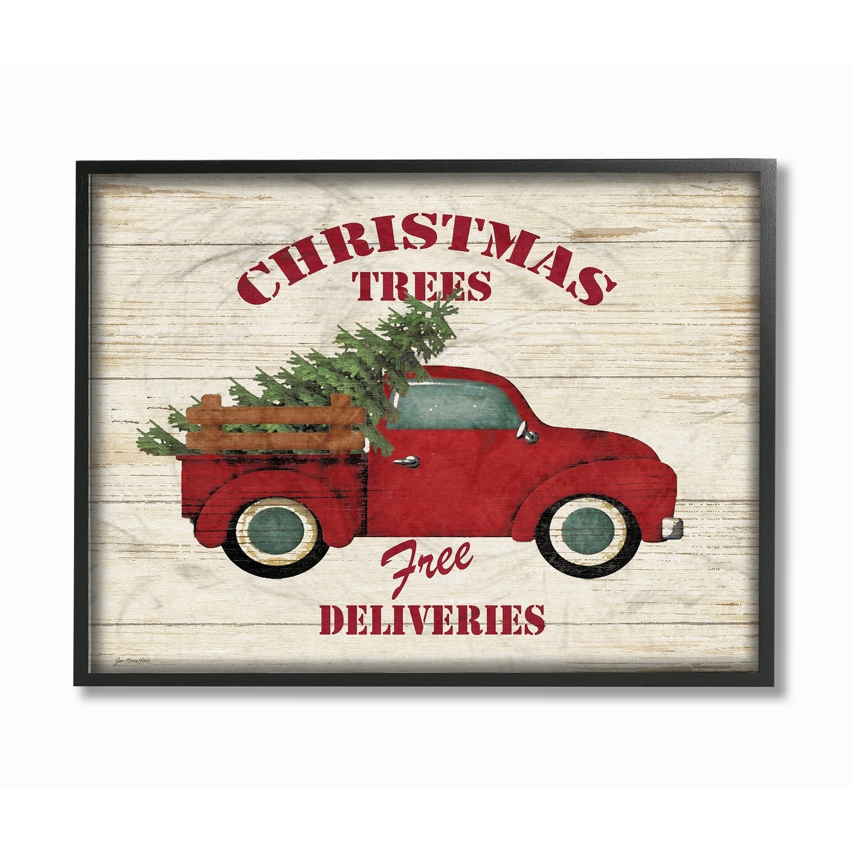 Merry Christmas Vintage Tree Truck Framed Giclee Texture Art