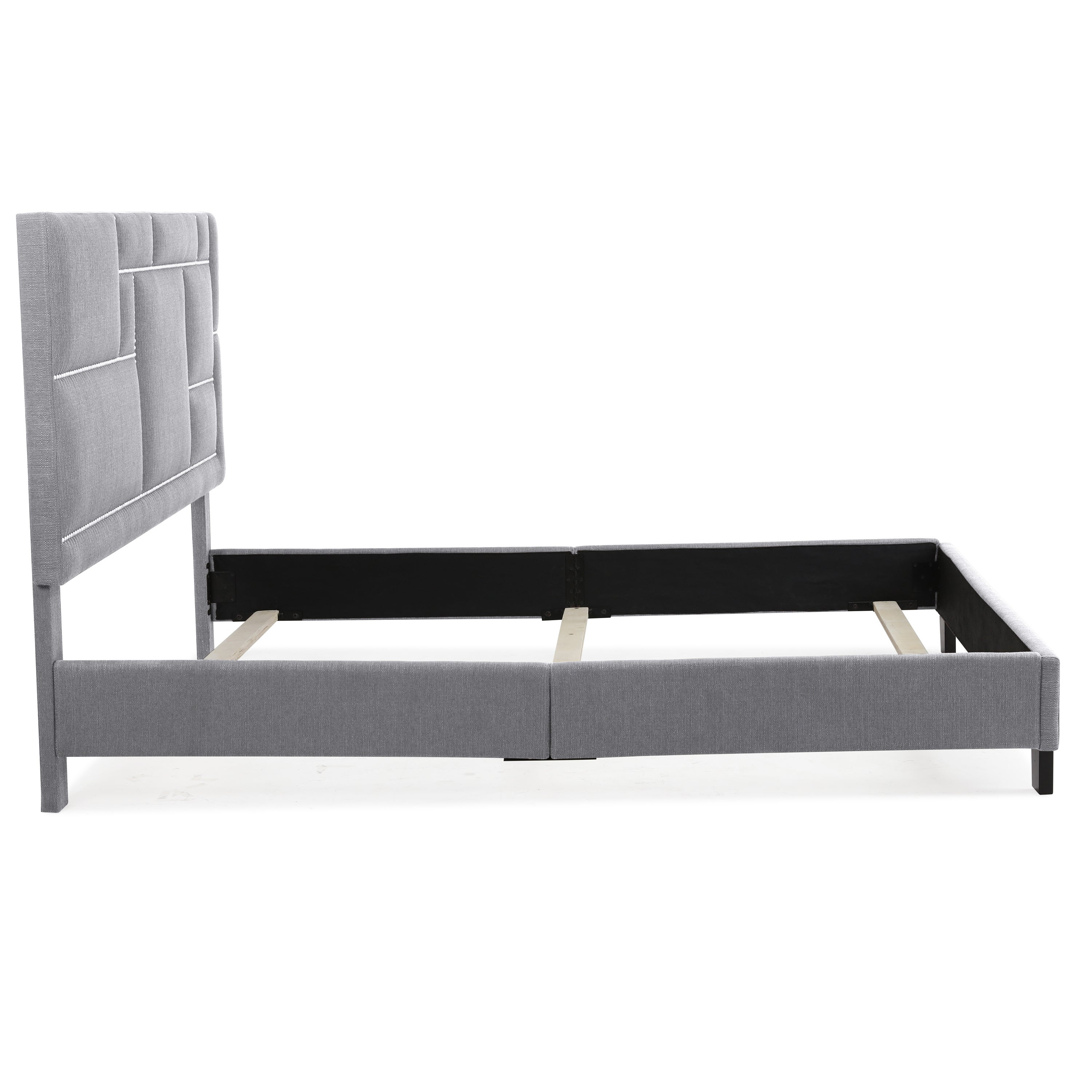 Shop handy living montreal queen sized grey linen upholstered bed on sale free shipping today overstock 18073988