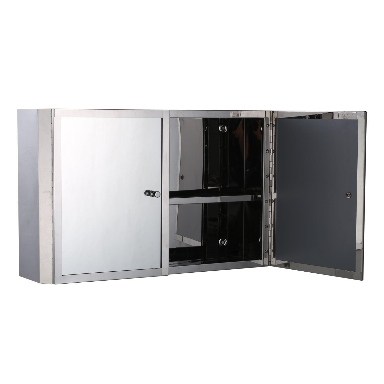 Homcom Horizontal 20 In Stainless Steel Floating Bathroom Wall Mirror Double Door Medicine Cabinet