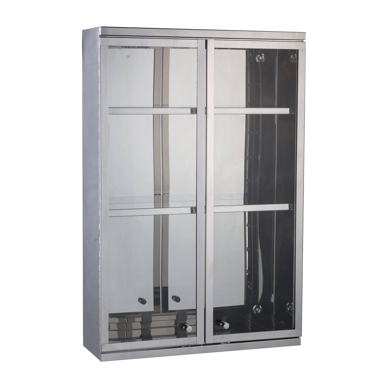 Homcom 24 X 16 Stainless Steel Double Door Display Wall Cabinet Free Shipping Today 18076216