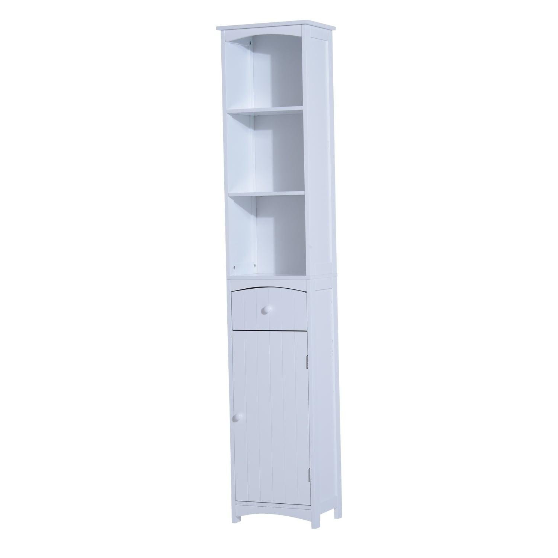 Shop HomCom Tall Bathroom Storage Cabinet - Free Standing Shelving ...