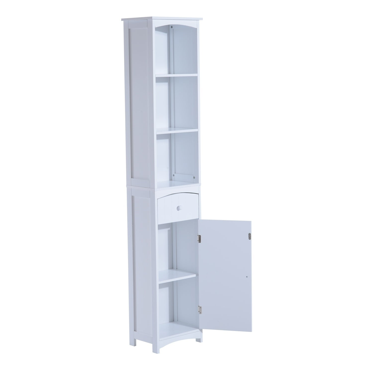 Shop homcom tall bathroom storage cabinet free standing shelving cupboard white free shipping today overstock com 18076219