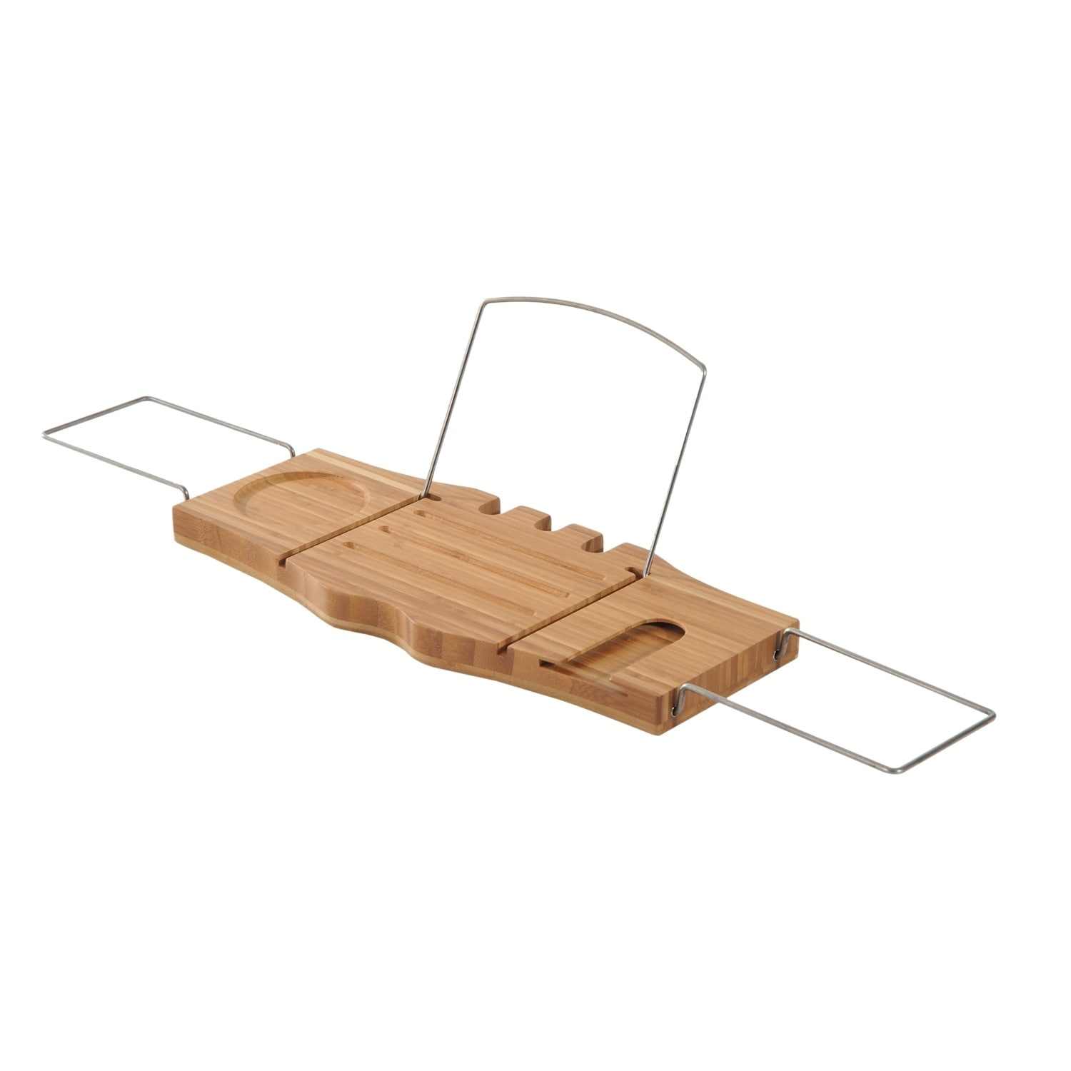HomCom Bathtub Caddy Tray with Wine Glass Holder and Book Stand ...