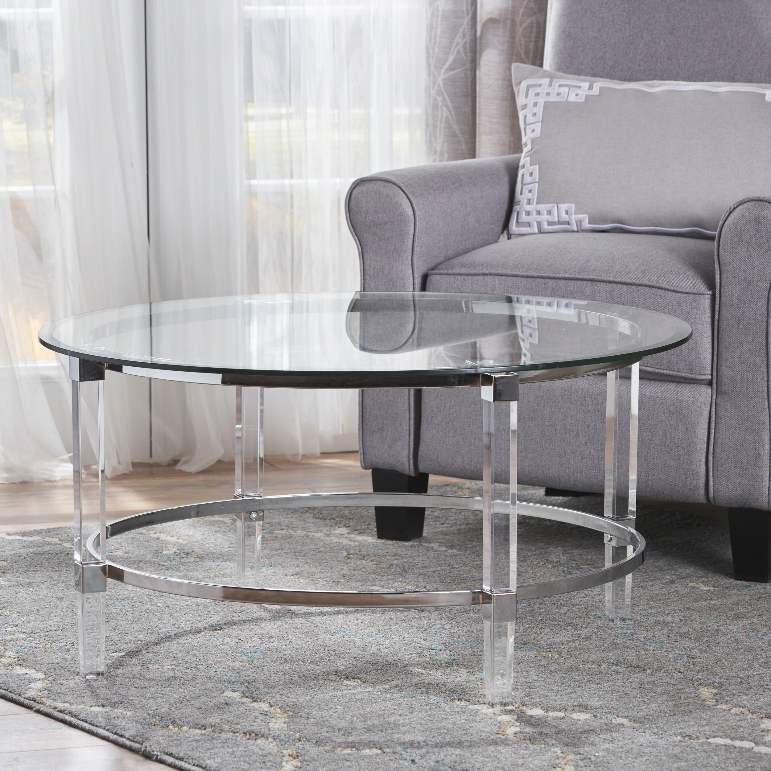 Elowen Round Rectangle Glass Coffee Table By Christopher Knight Home