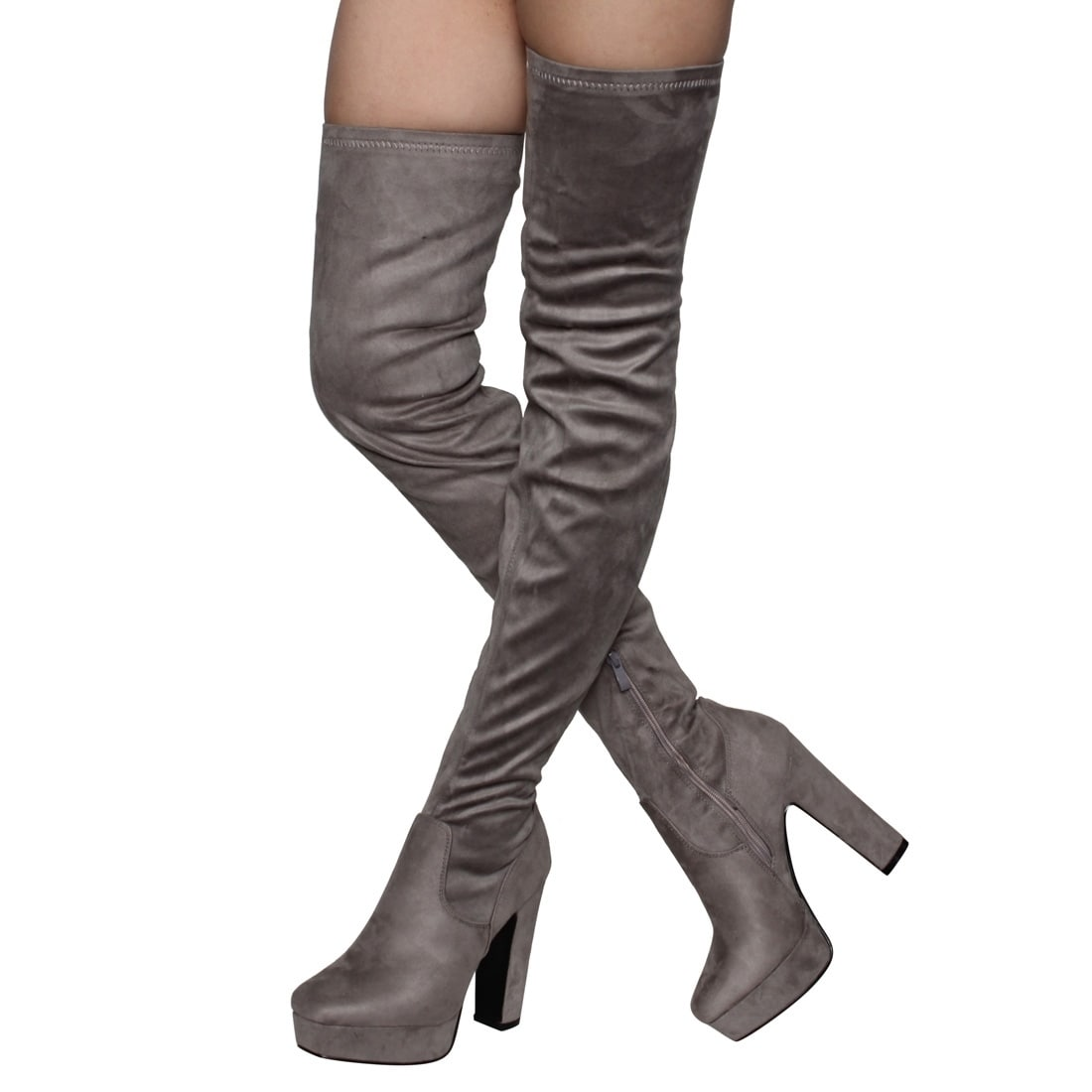 d65916ab42a5 Shop Beston EJ20 Women's Side Zipper Chunky Heel Stretchy Snug Fit Thigh High  Boots - Ships To Canada - Overstock - 18077579