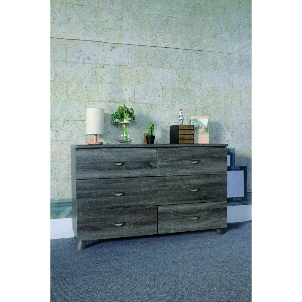 Shop Spacious Dresser With Six Storage Drawers On Metal Glides, Gray ...