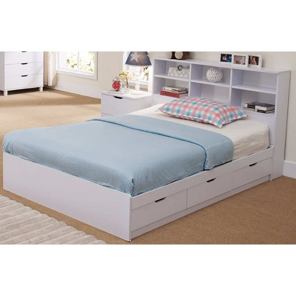 headboard bed storage full size beds with furniture bedroom bookcase