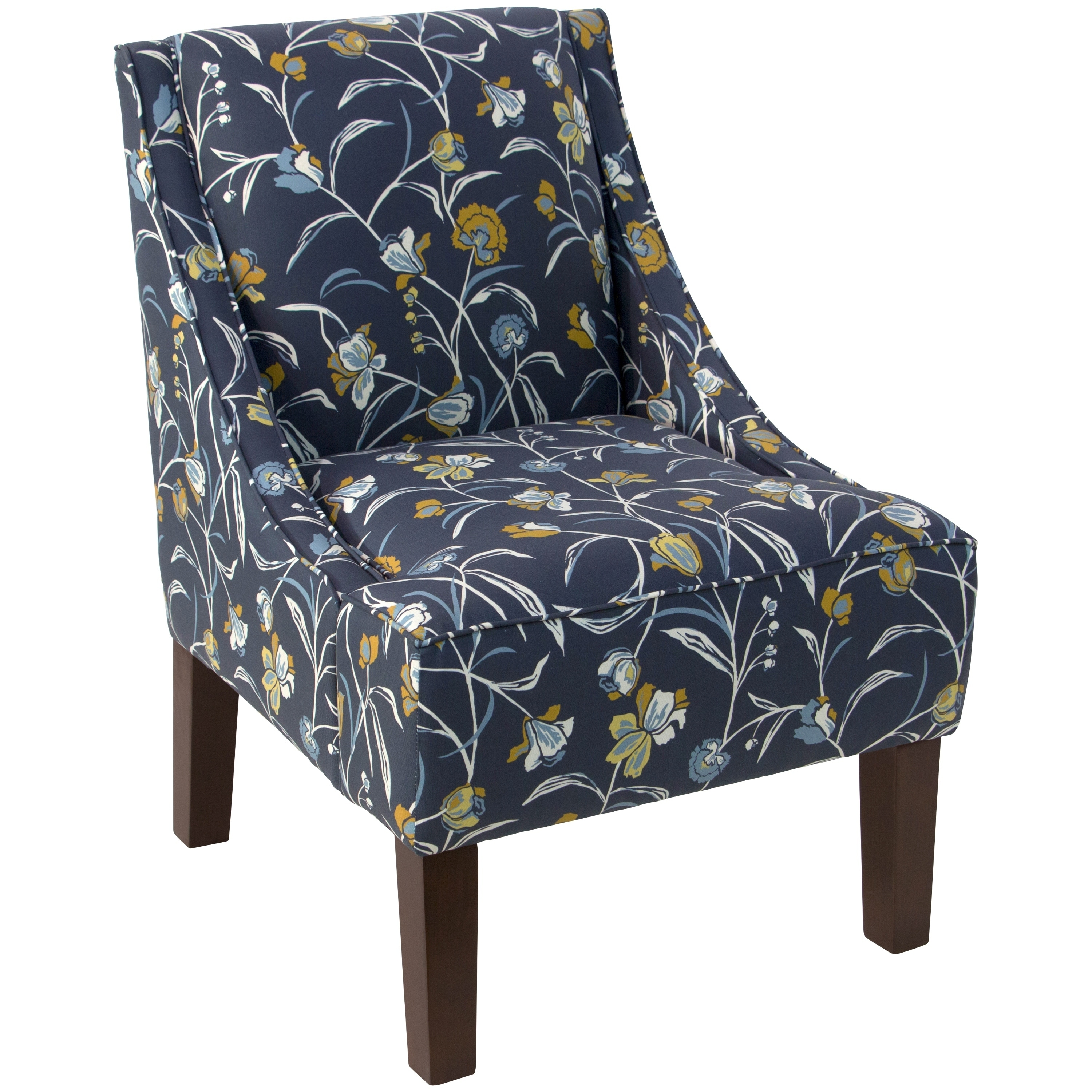 Skyline Furniture Accent Chair In Whisp Fl Navy Ochre Free Shipping Today 18078244