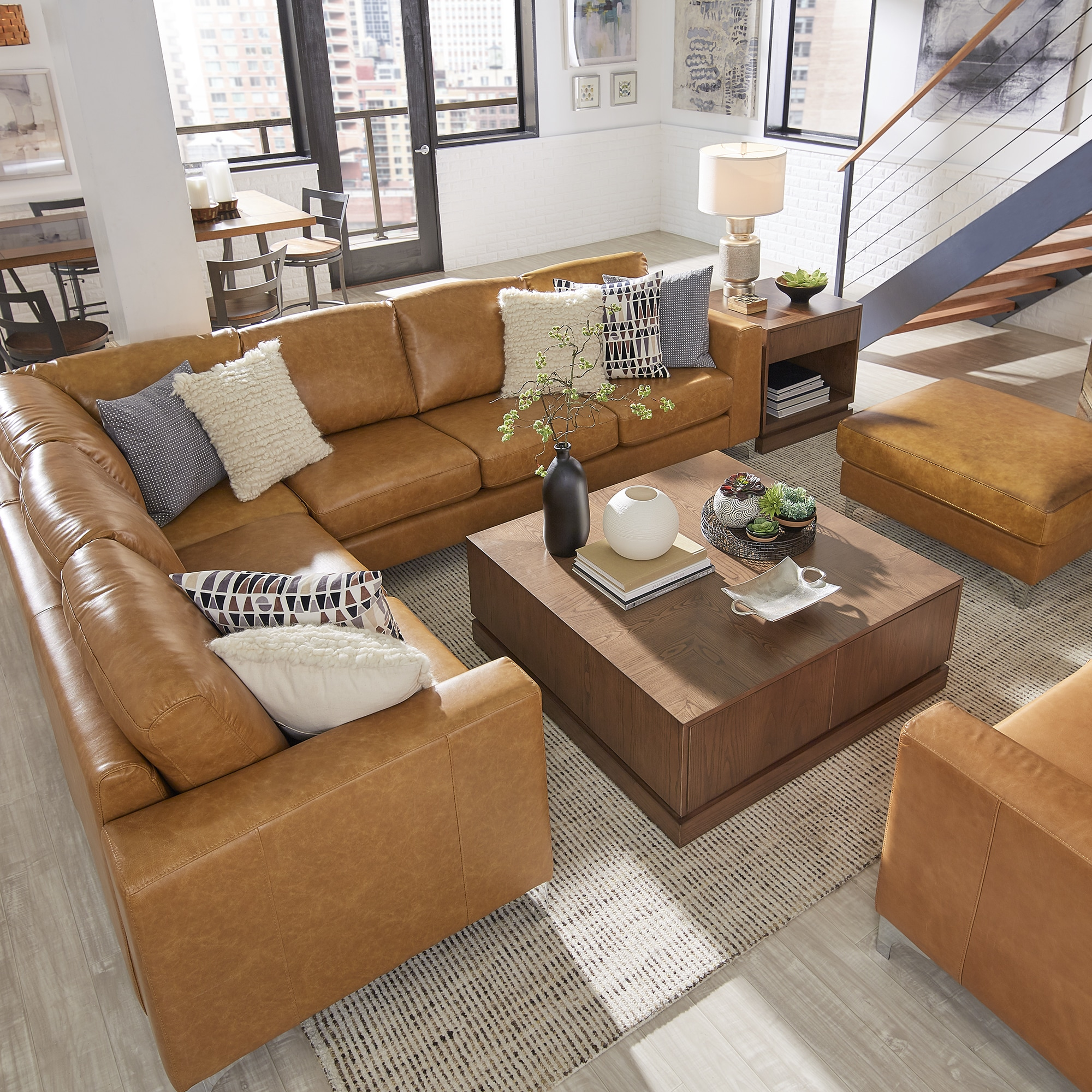 Bastian Aniline Leather Caramel L-Shaped Sectionals by iNSPIRE Q Modern -  Free Shipping Today - Overstock.com - 24239674