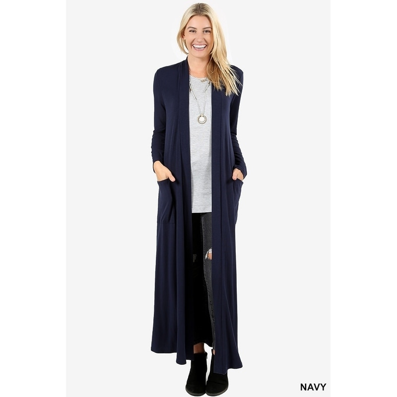 Shop JED Women s Long Sleeve Maxi Cardigan with Side Pockets - Free  Shipping On Orders Over  45 - Overstock - 18079052 32eb4dab5
