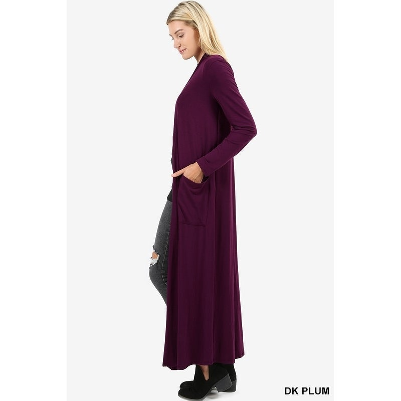 0282f795b6c5c Shop JED Women s Long Sleeve Maxi Cardigan with Side Pockets - On Sale -  Free Shipping On Orders Over  45 - Overstock - 18079052