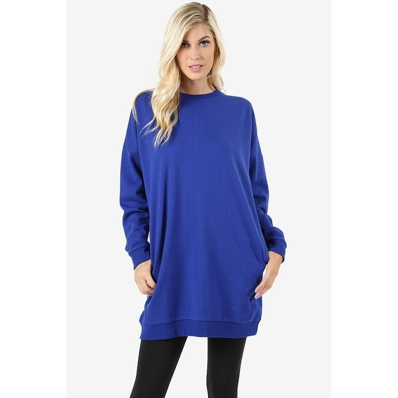 7571c5cac5f Shop JED Women's Comfy Fit Crewneck Long Sleeve Pull-Over Tunic Sweatshirt  - On Sale - Free Shipping On Orders Over $45 - Overstock - 18079058