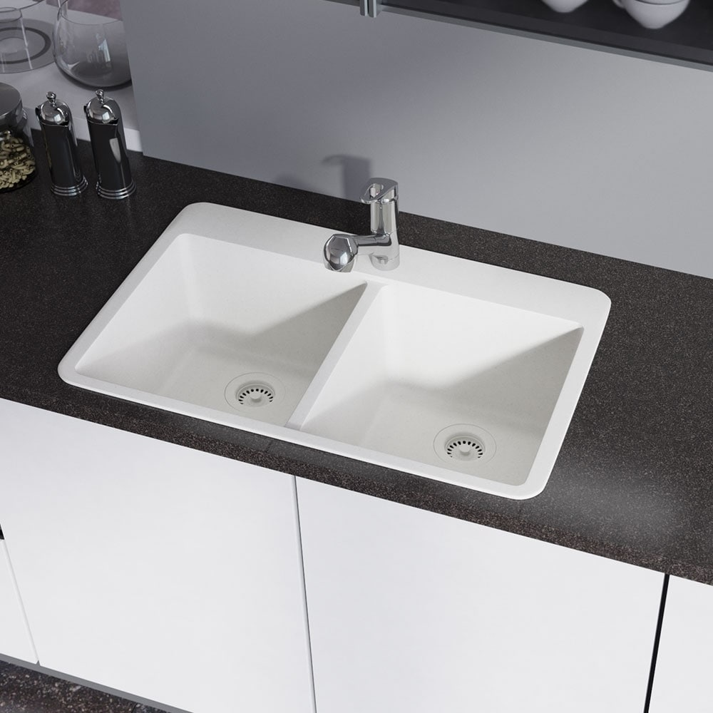 R3 2002 double equal bowl quartz kitchen sink two grids and r3 2002 double equal bowl quartz kitchen sink two grids and matching colored strainers free shipping today overstock 24240046 workwithnaturefo