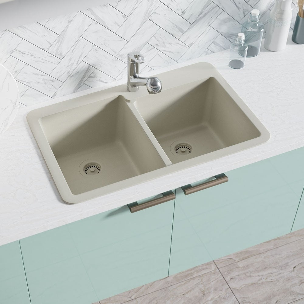 R3-2001 Double Offset Bowl Quartz Sink, Two Grids, and Matching ...
