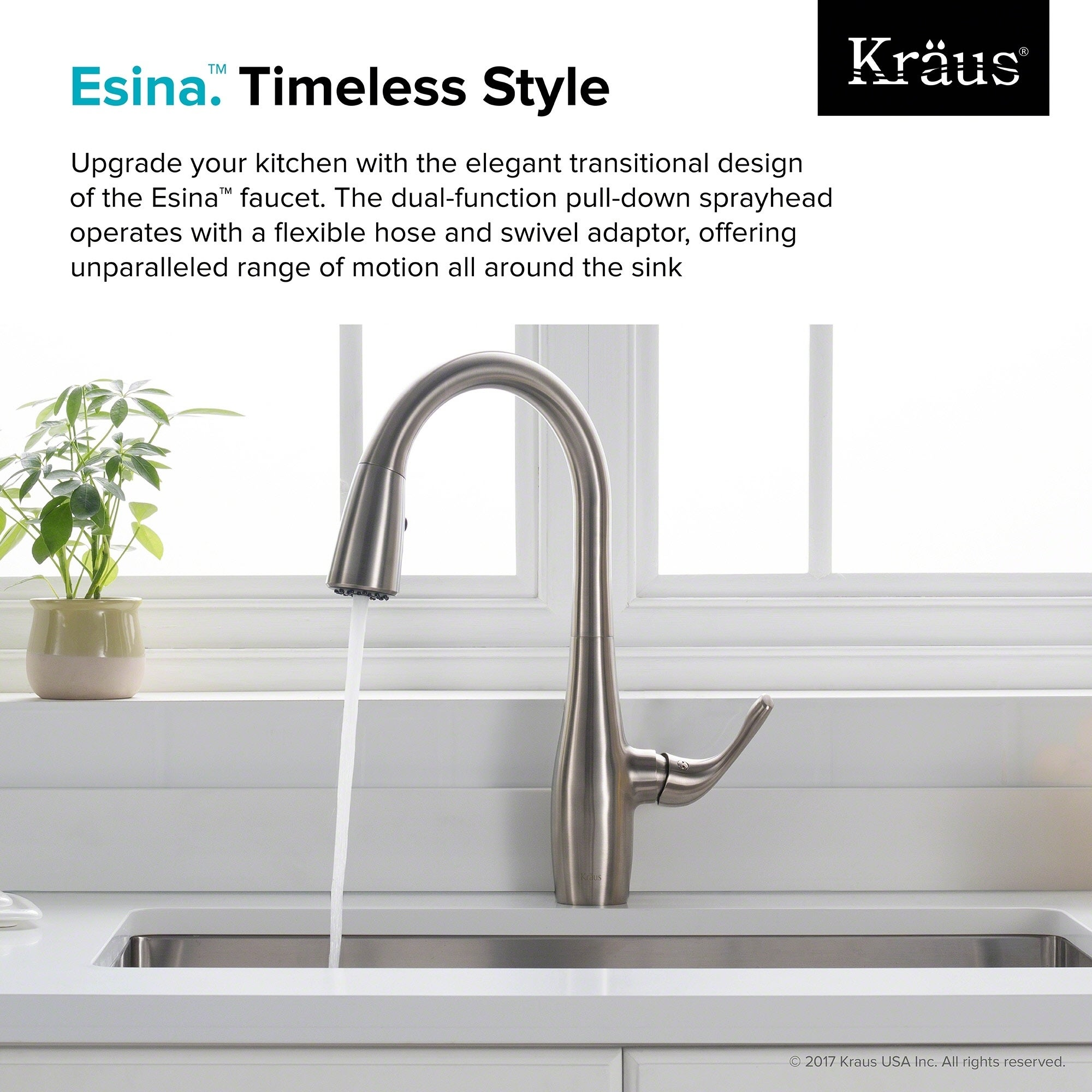 Shop KRAUS Esina Single Handle Pull Down Kitchen Faucet With Dual Function  Sprayhead In All Brite Spot Free Stainless Steel Finish   Free Shipping  Today ...