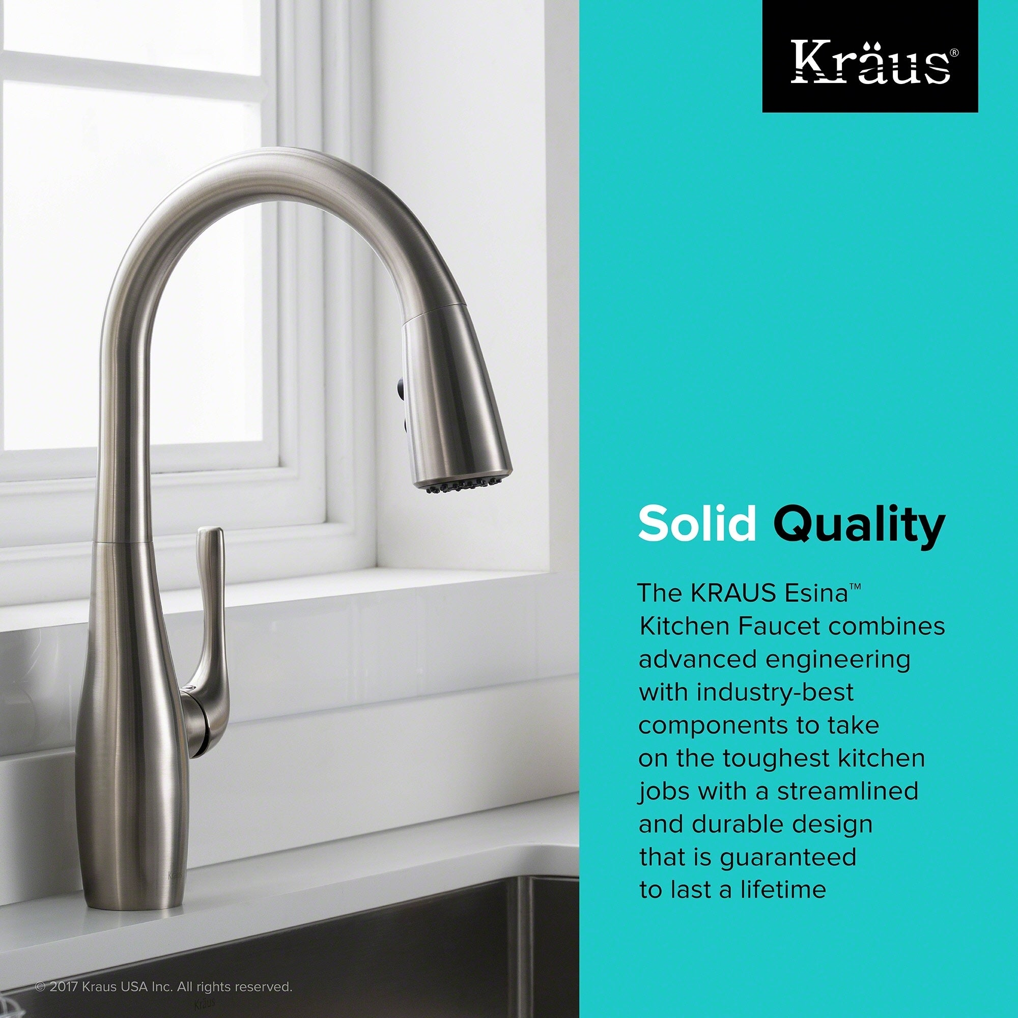 Shop KRAUS Esina Single Handle Pull Down Kitchen Faucet with Dual ...