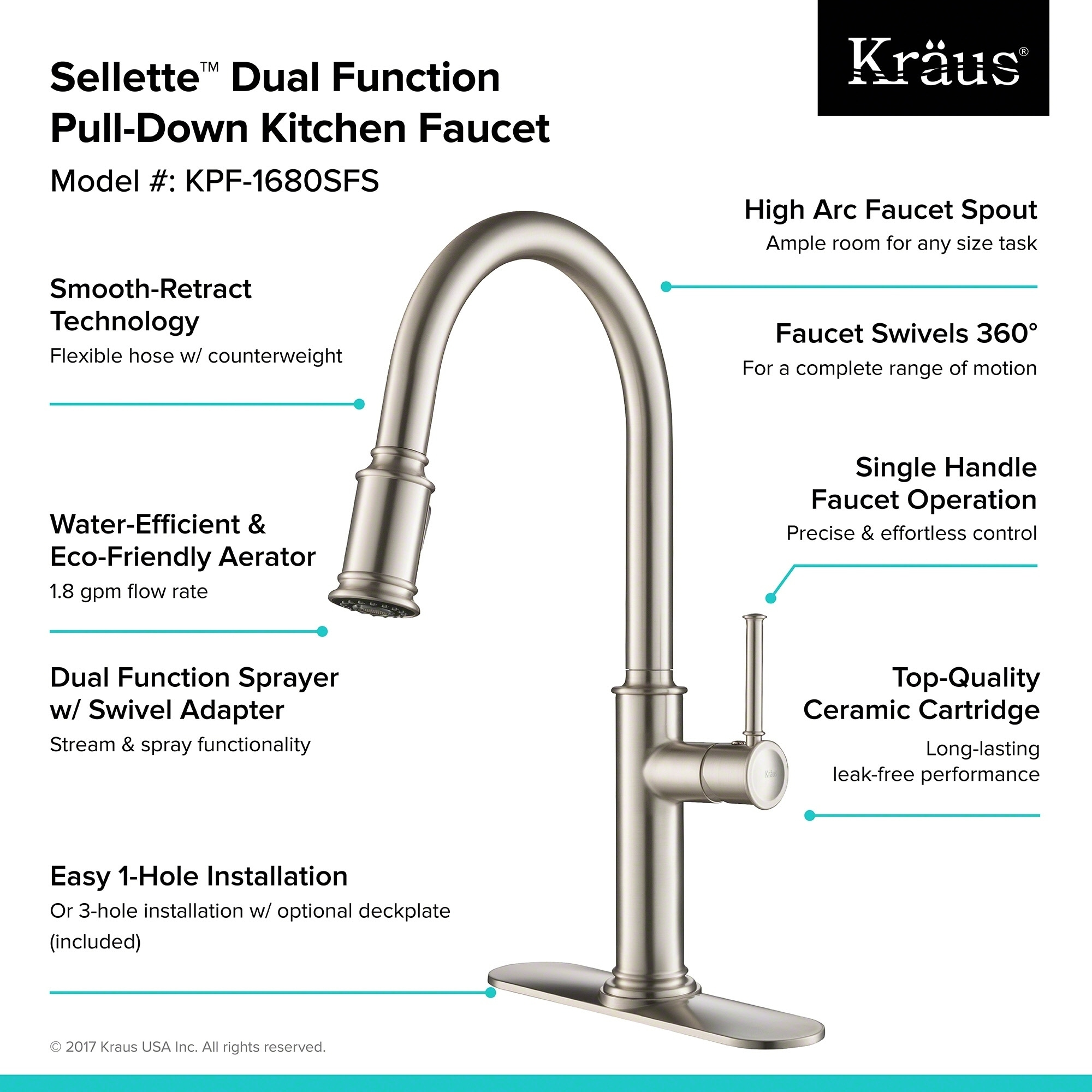 Shop KRAUS Sellette Single Handle Pull Down Kitchen Faucet with Dual ...
