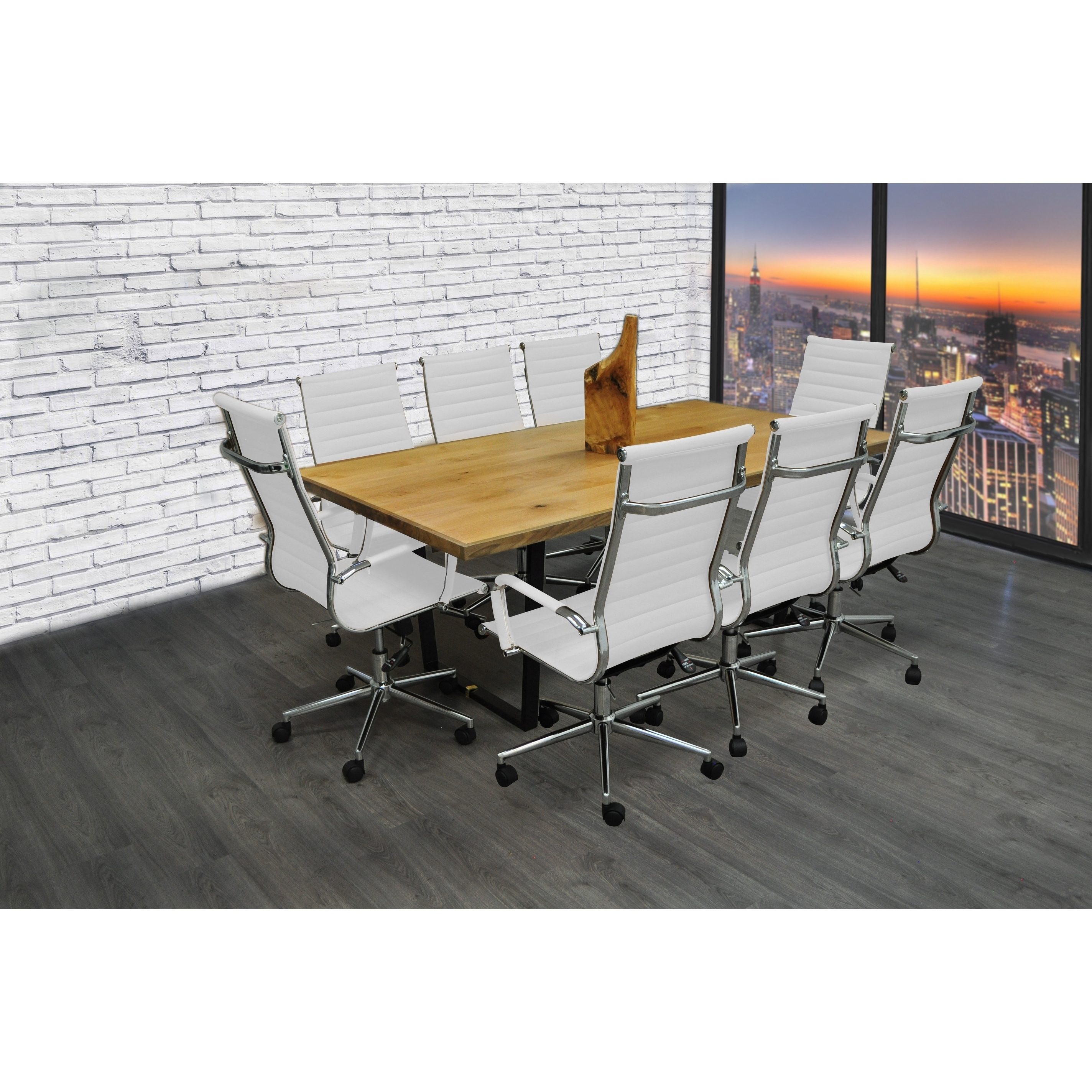 SOLIS Castillo 9 Piece Solid Wood Conference Table Set with White