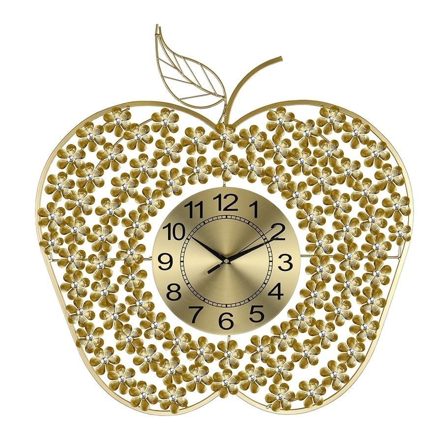 Shop Golden Apple Metal Wall Clock Bejeweled W Clear Acrylic Stones