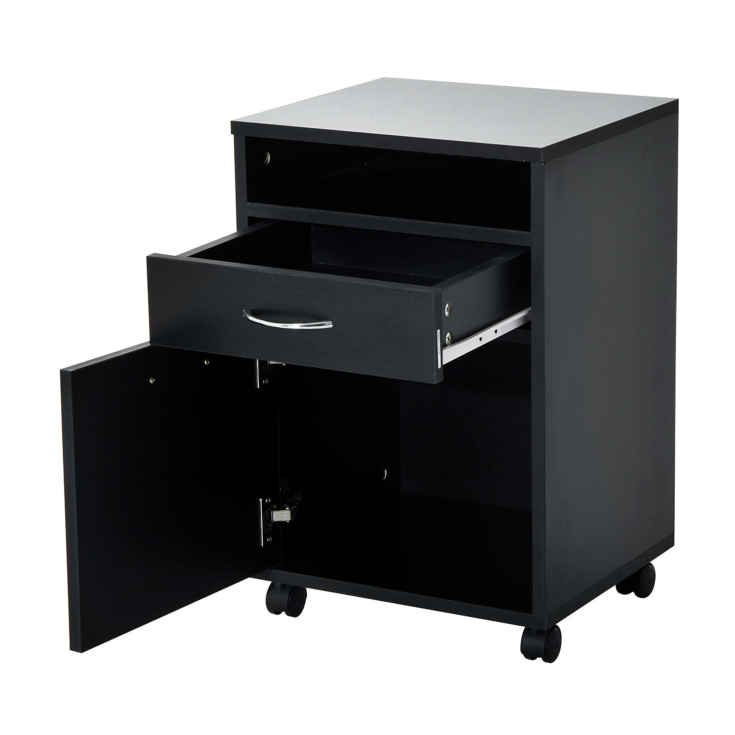 Homcom 24 Rolling End Table Mobile Printer Cart Nightstand Organizer Black Free Shipping Today 18087022