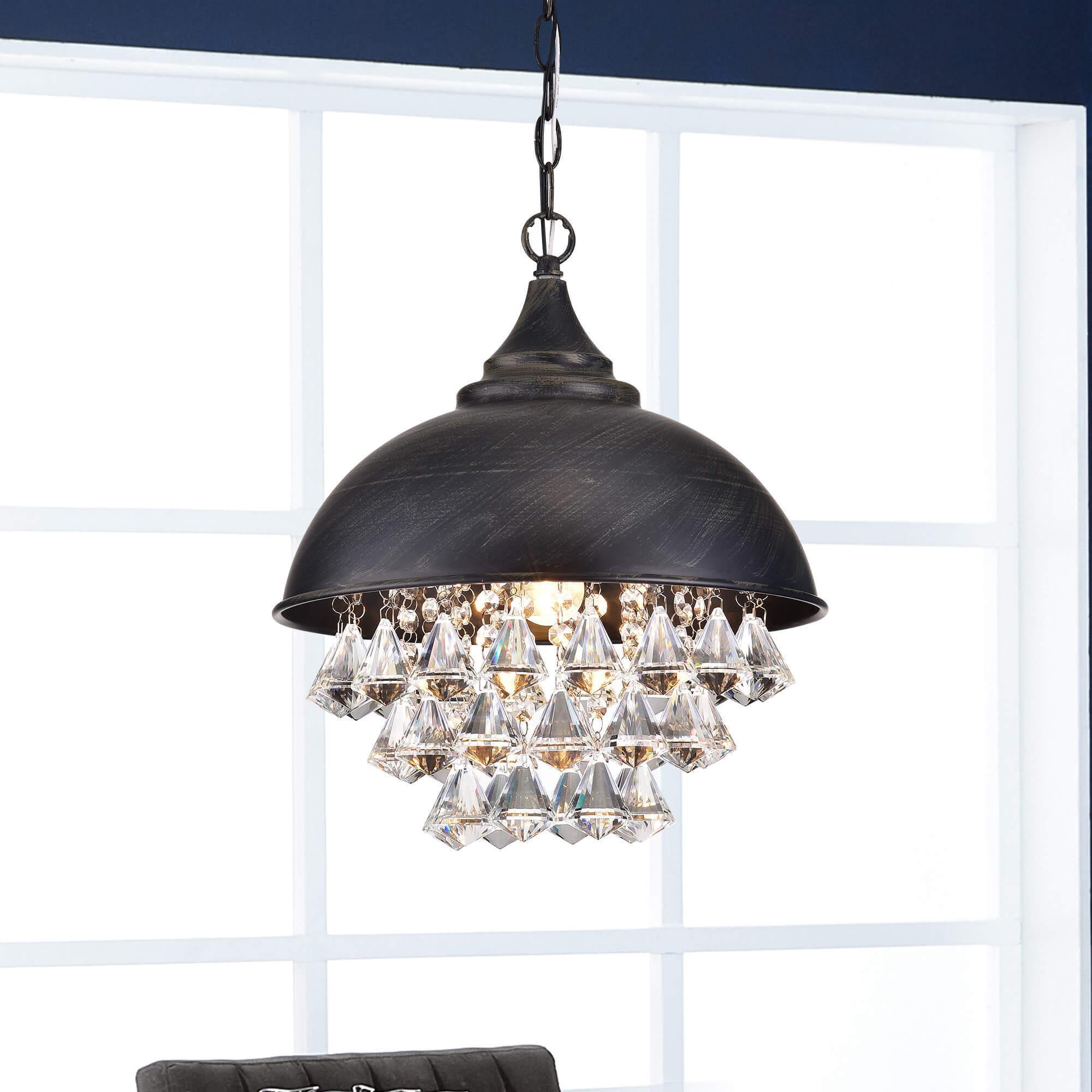 Shop visalia antique black single light crystal chandelier ships to canada overstock 18087296