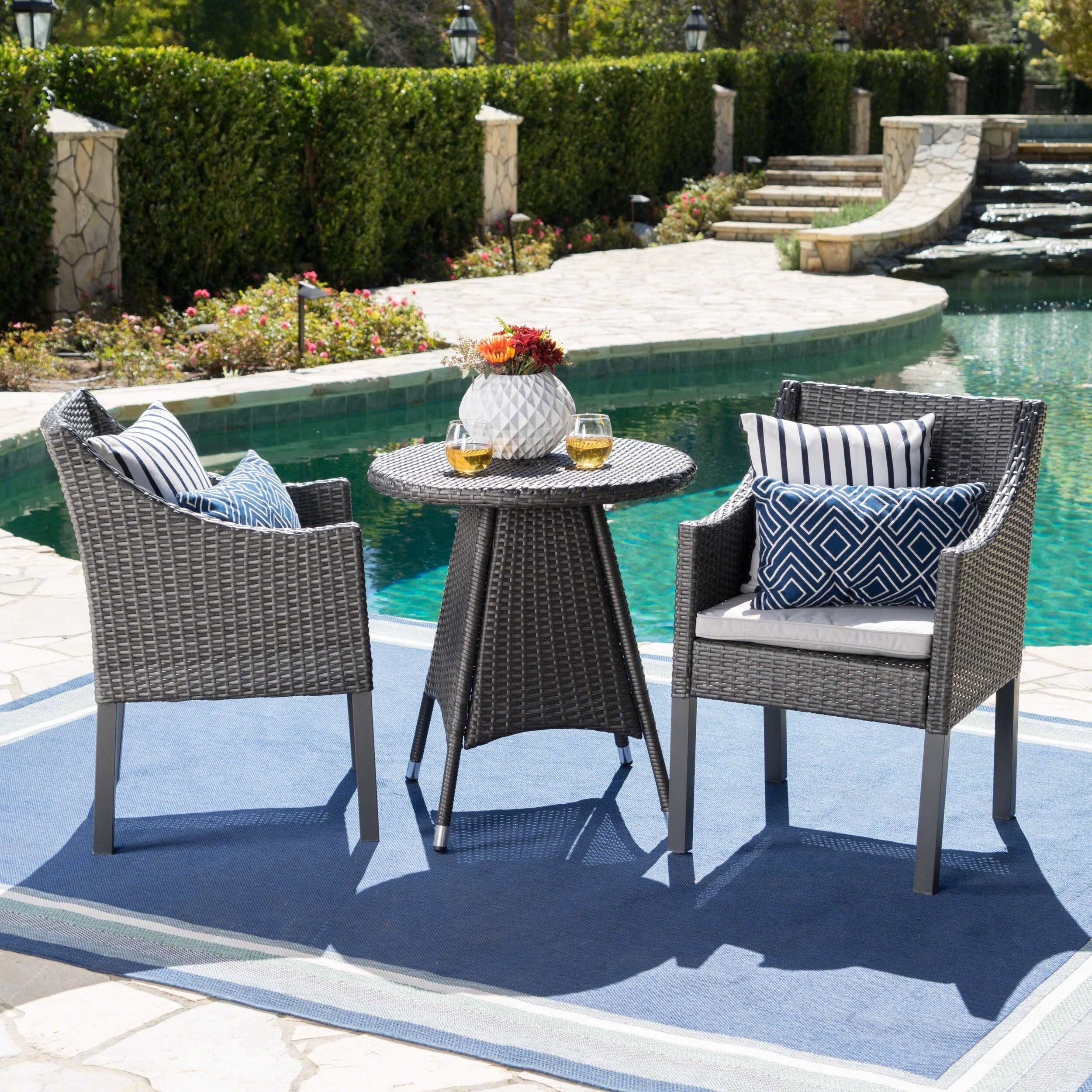 Shop Franco Outdoor 3-Piece Round Wicker Bistro Chat Set with ...