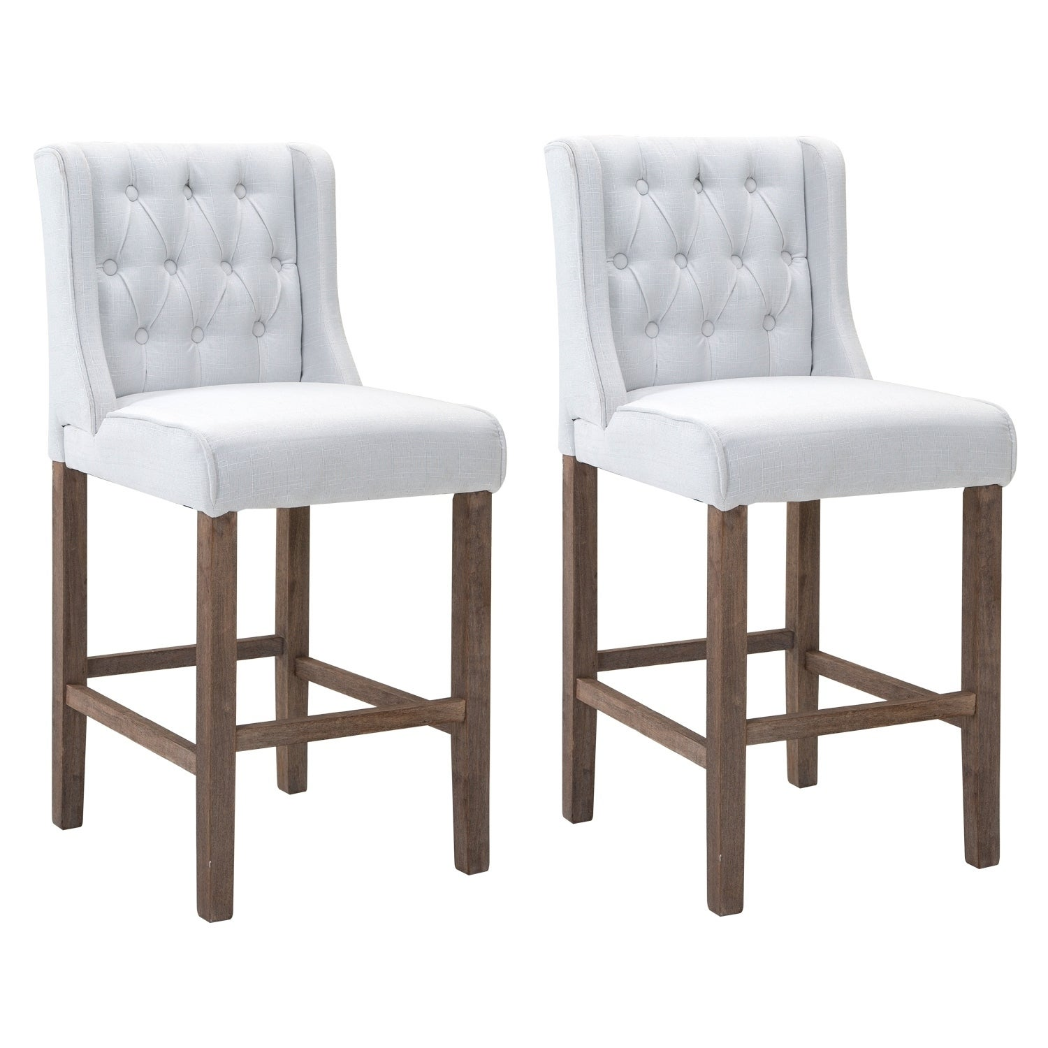 Shop homcom modern bar height fabric wingback dining chairs with tufted buttons cream white set of 2 chairs free shipping today overstock com