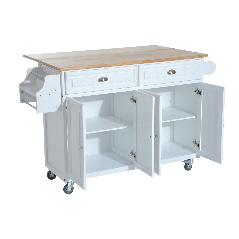 Shop HomCom Kitchen Island - Modern Rolling Storage Cart on Wheels ...