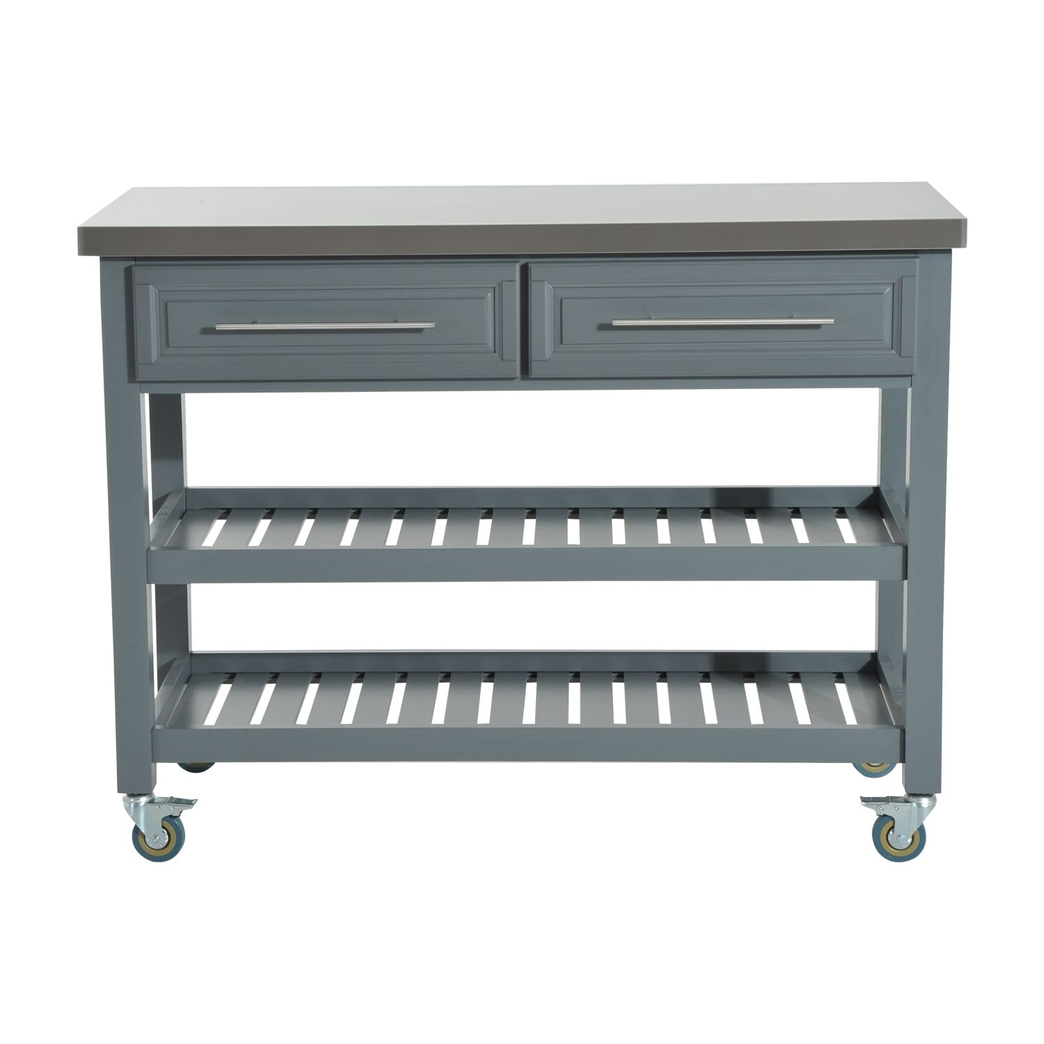HomCom Country Style Kitchen Island - Rustic Rolling Storage Cart on ...