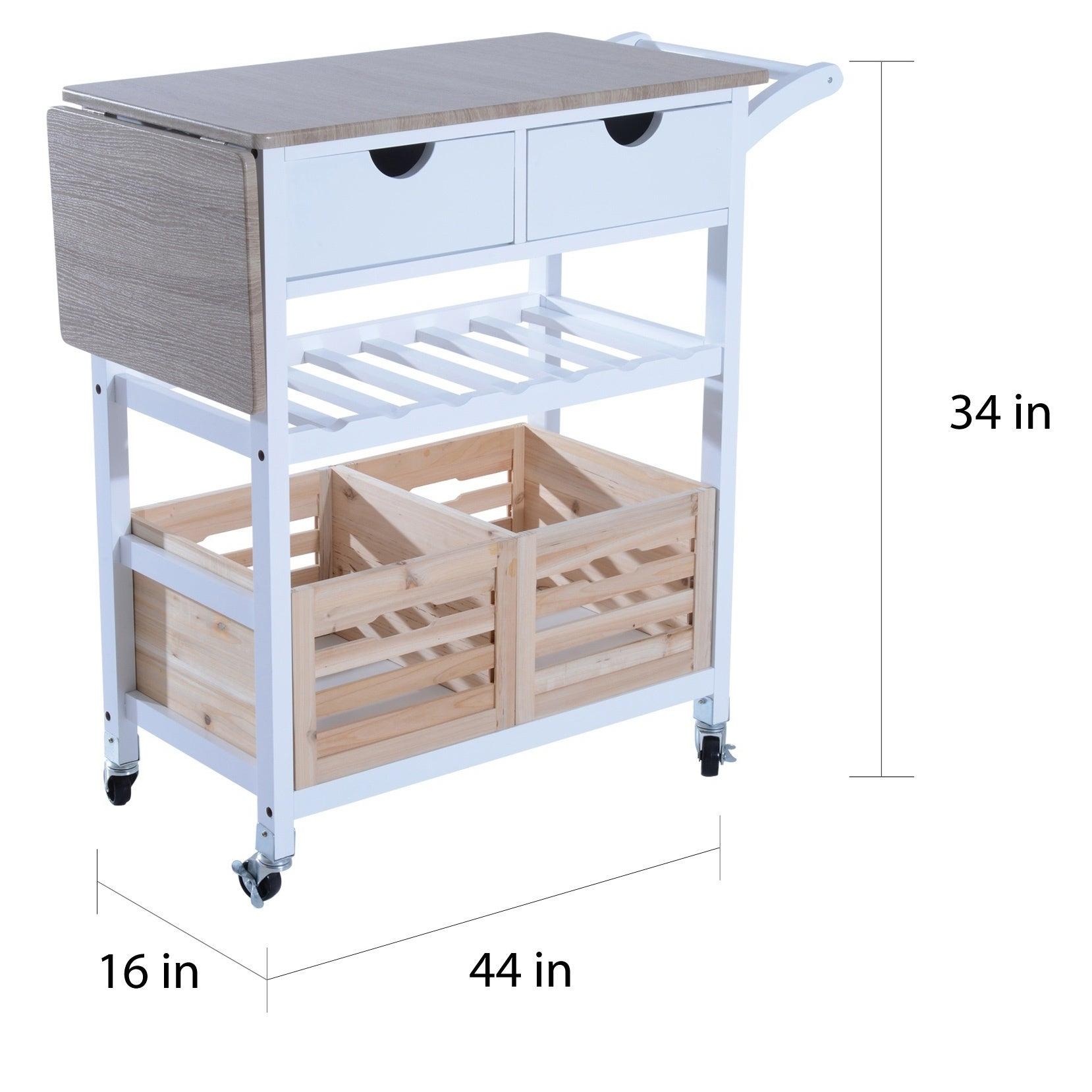 Homcom 34 Rolling Drop Leaf Kitchen Trolley Serving Cart With Wine Rack