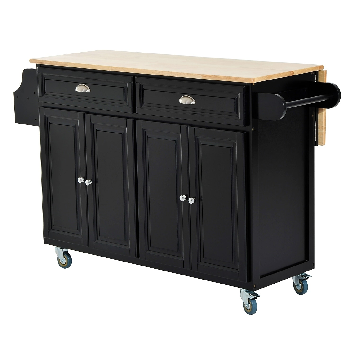 Homcom Kitchen Island Modern Rolling Storage Cart On Wheels With Wood Top Black Free Shipping Today 18088179