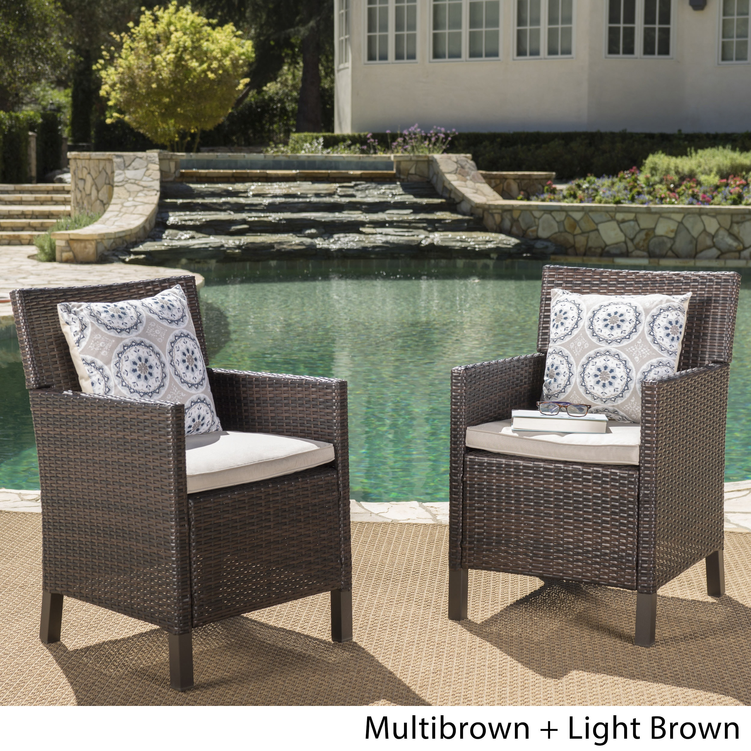 Cypress Outdoor Wicker Dining Chairs With Cushions Set Of 2 By Christopher Knight Home On Free Shipping Today 18088204