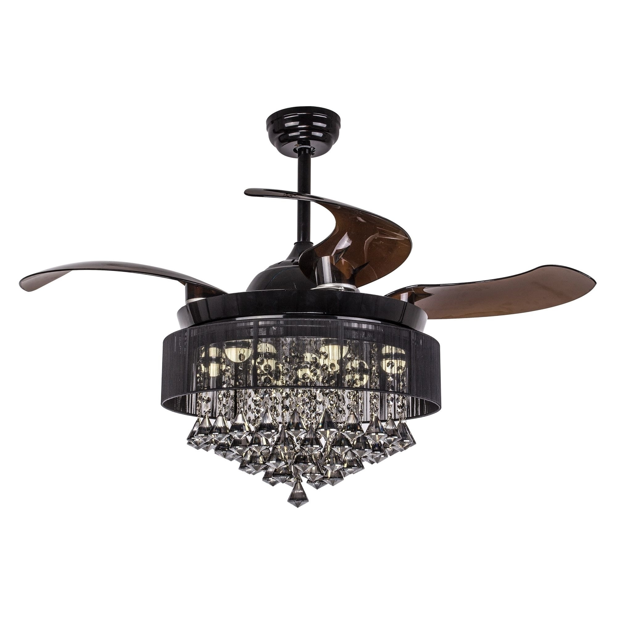 Foldable Blades 46 Inch Black Crystal Led Ceiling Fan Light Kit On Free Shipping Today 18088601