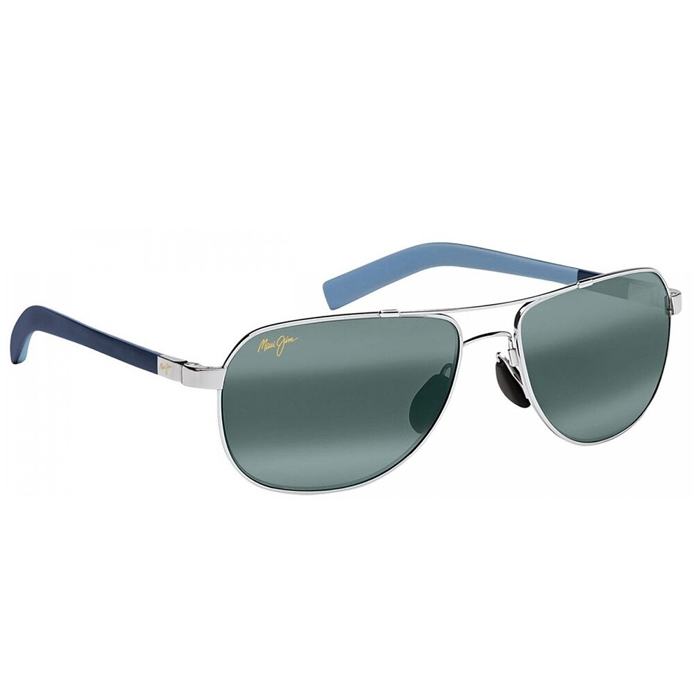 f5d30dd8b9e Shop Maui Jim Unisex Guardrails 327 17 Silver with Blue Frame Neutral Grey  Polarized Lens Aviator Sunglasses - Free Shipping Today - Overstock -  18088631