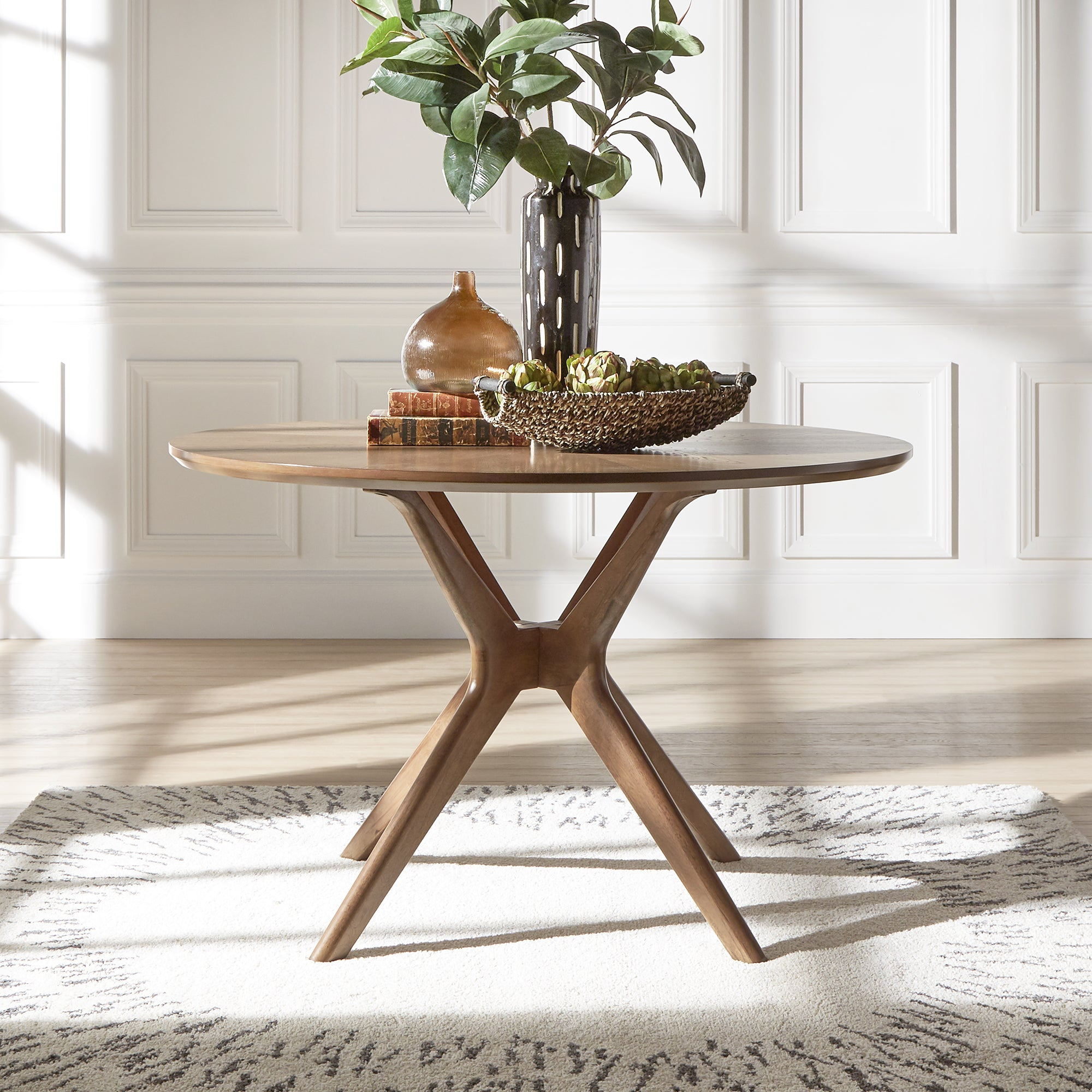 Nadine Mid-Century Walnut Finish Round Dining Table by iNSPIRE Q Modern -  Free Shipping Today - Overstock.com - 24248826