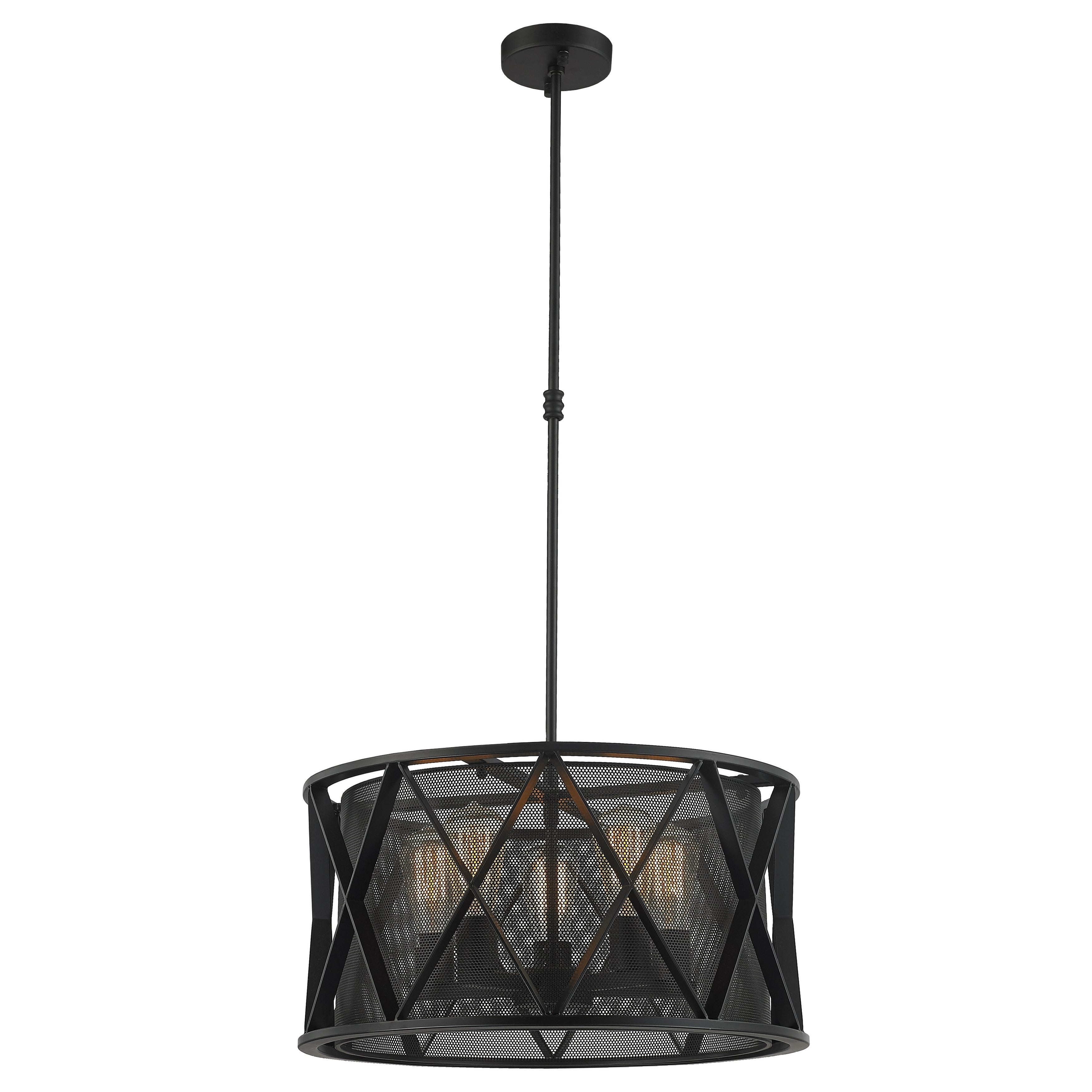 Taiko Collection 5 Light Mesh Drum Shade Pendant Light in Matte ...