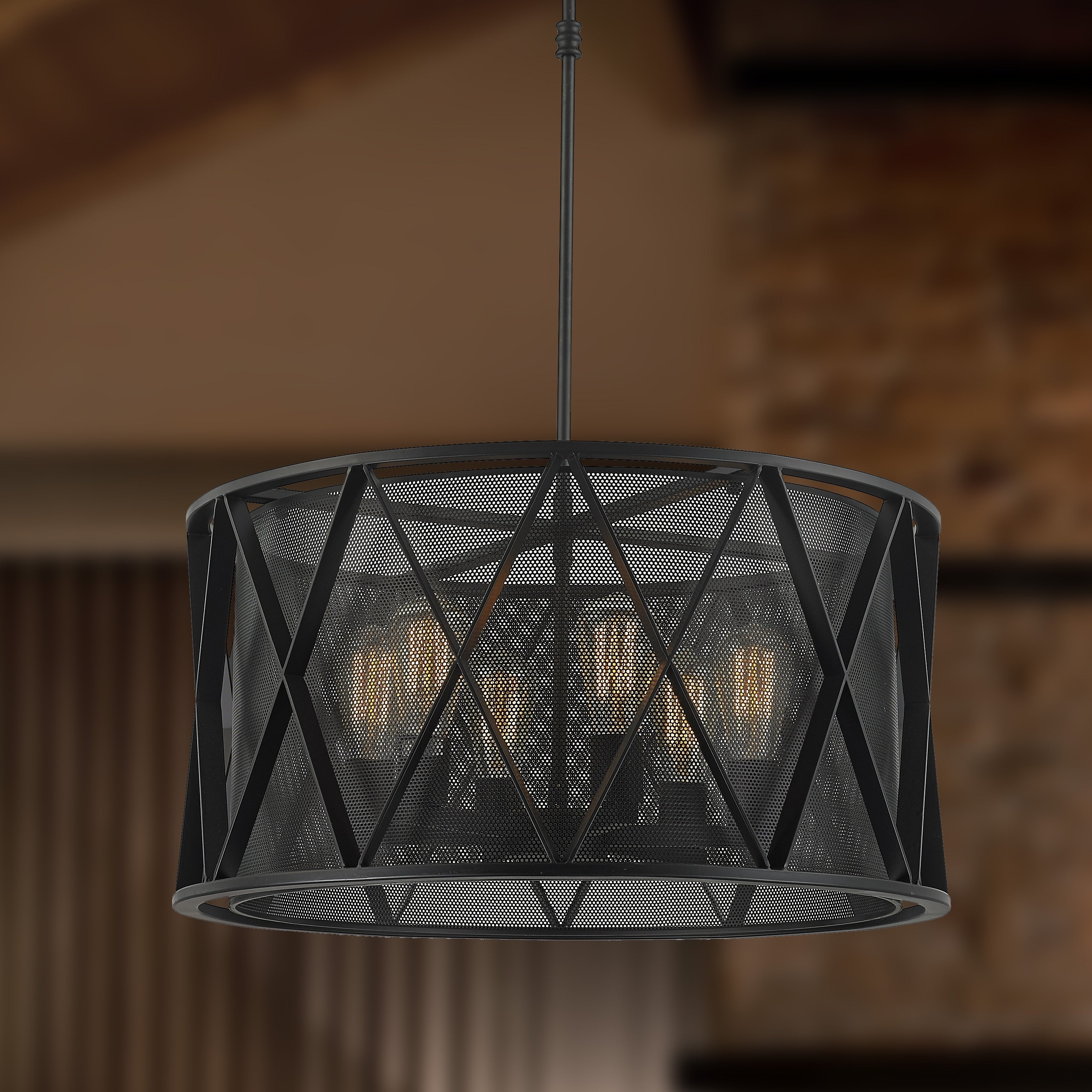 Taiko collection 6 light mesh drum shade pendant light in matte taiko collection 6 light mesh drum shade pendant light in matte black finish d24 h12 free shipping today overstock 24249692 aloadofball Choice Image